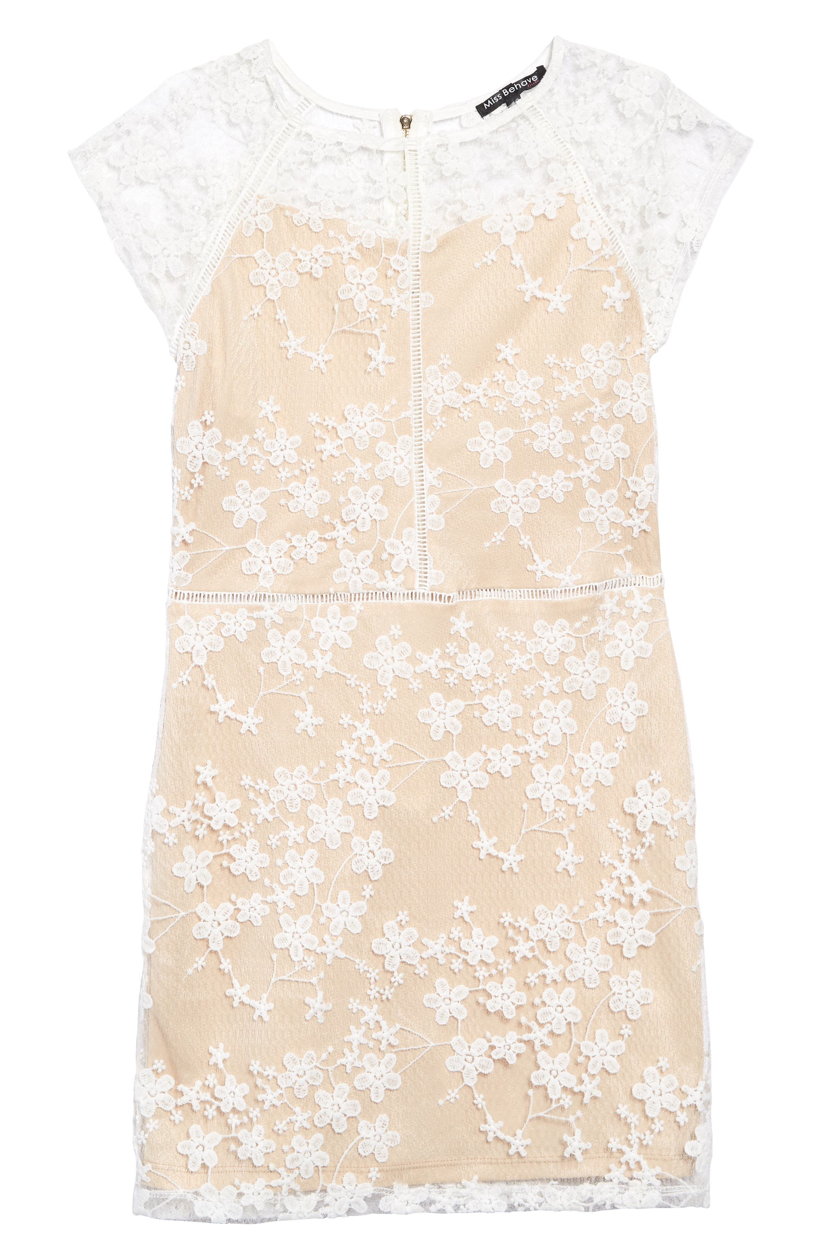 MISS BEHAVE Lace Overlay Dress, Main, color, WHITE/ NUDE
