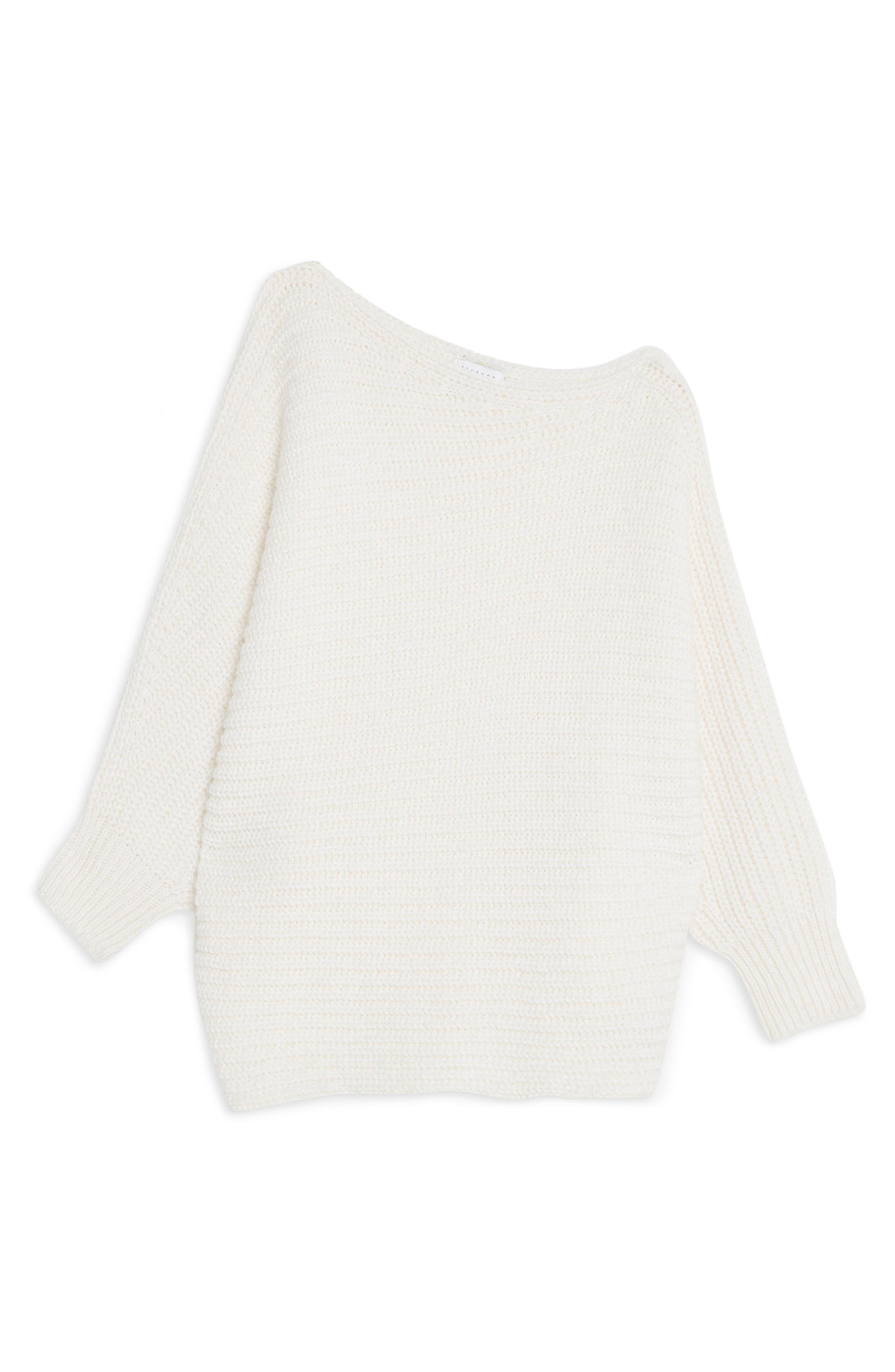 TOPSHOP, Drape Tunic Sweater, Alternate thumbnail 3, color, IVORY