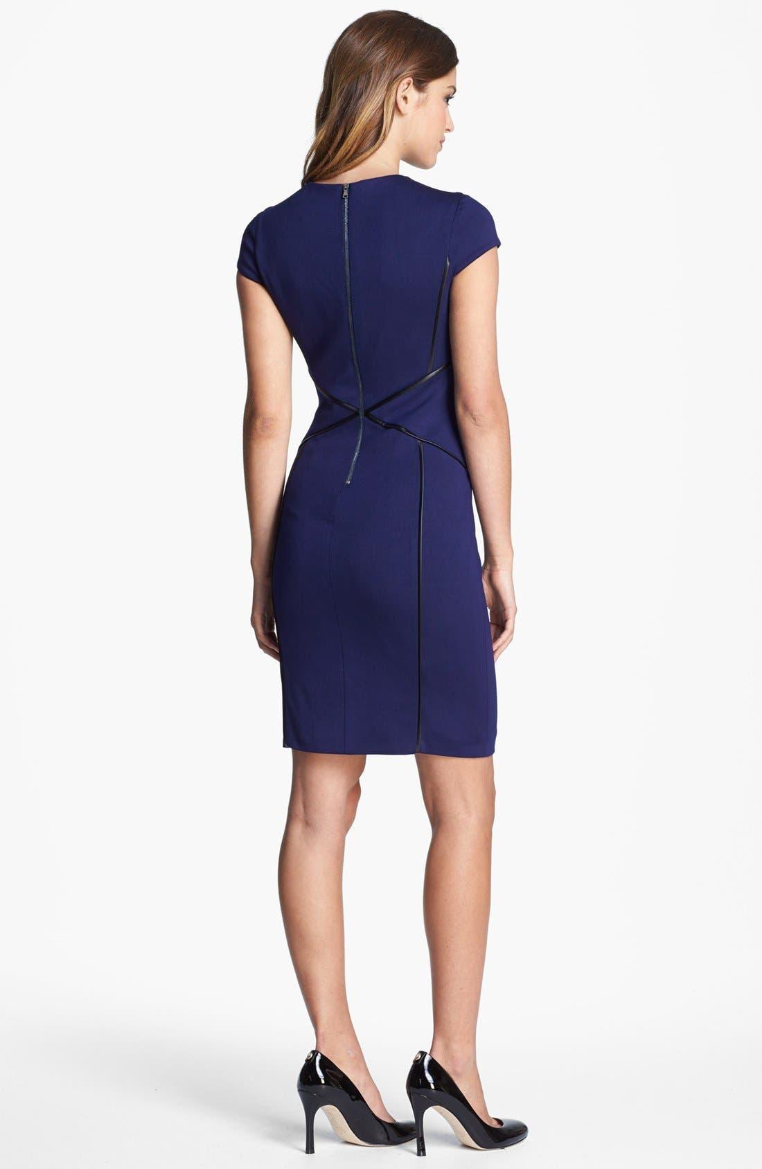 CYNTHIA STEFFE, Cap Sleeve Faux Leather Trim Ponte Sheath Dress, Alternate thumbnail 3, color, 508