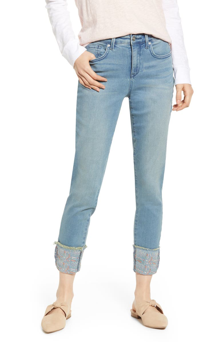 Nydj Jeans AMI EMBROIDERED CUFF STRETCH ANKLE SKINNY JEANS