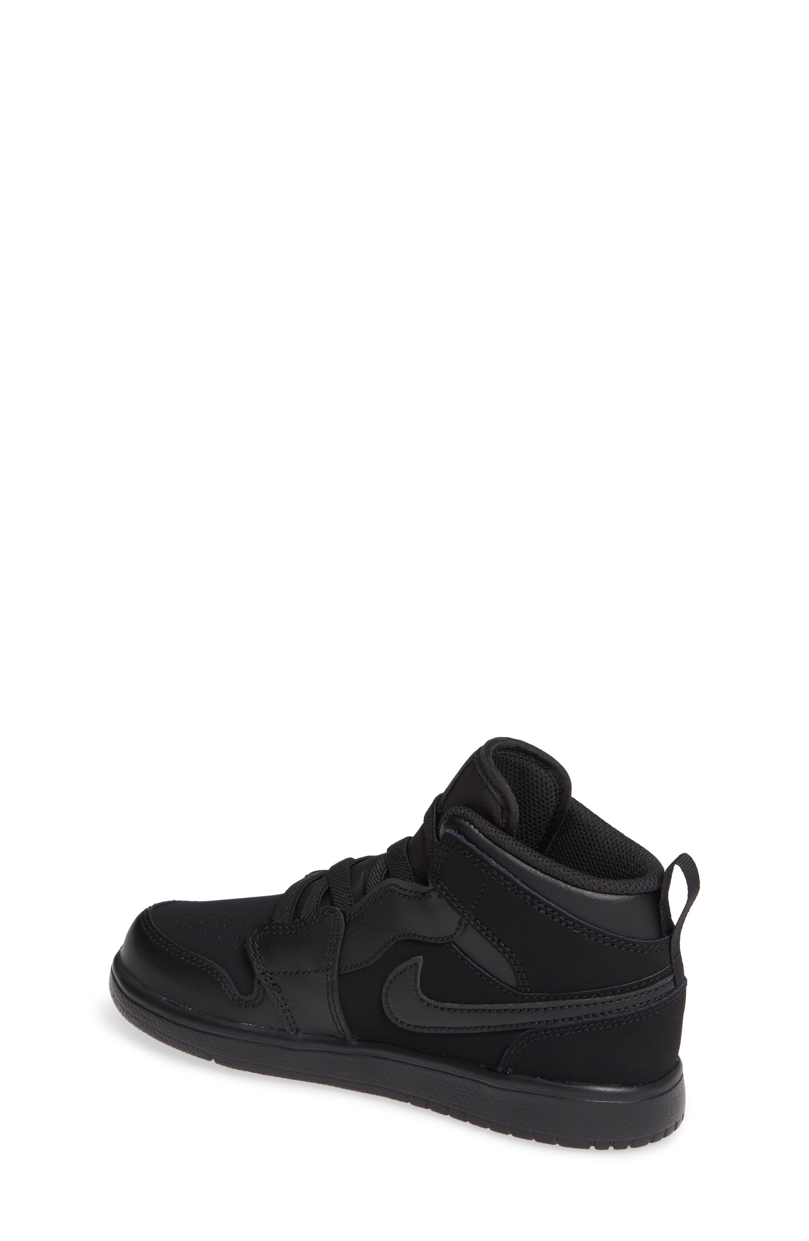JORDAN, 1 Mid Basketball Shoe, Alternate thumbnail 2, color, BLACK/ DARK GREY