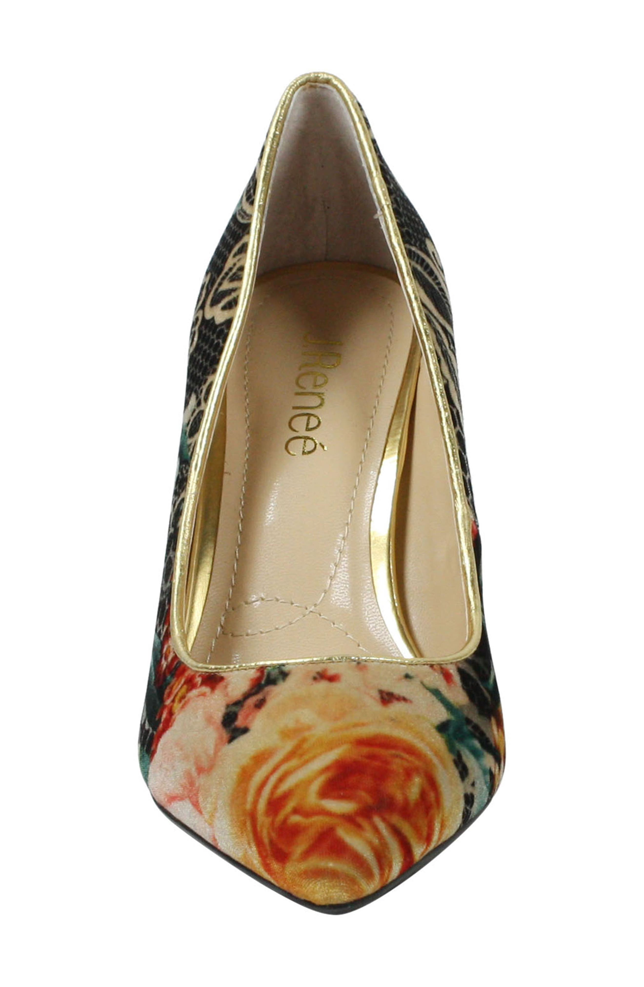J. RENEÉ, 'Maressa' Pointy Toe Pump, Alternate thumbnail 4, color, BLACK/ TAUPE/ CORAL/ GOLD