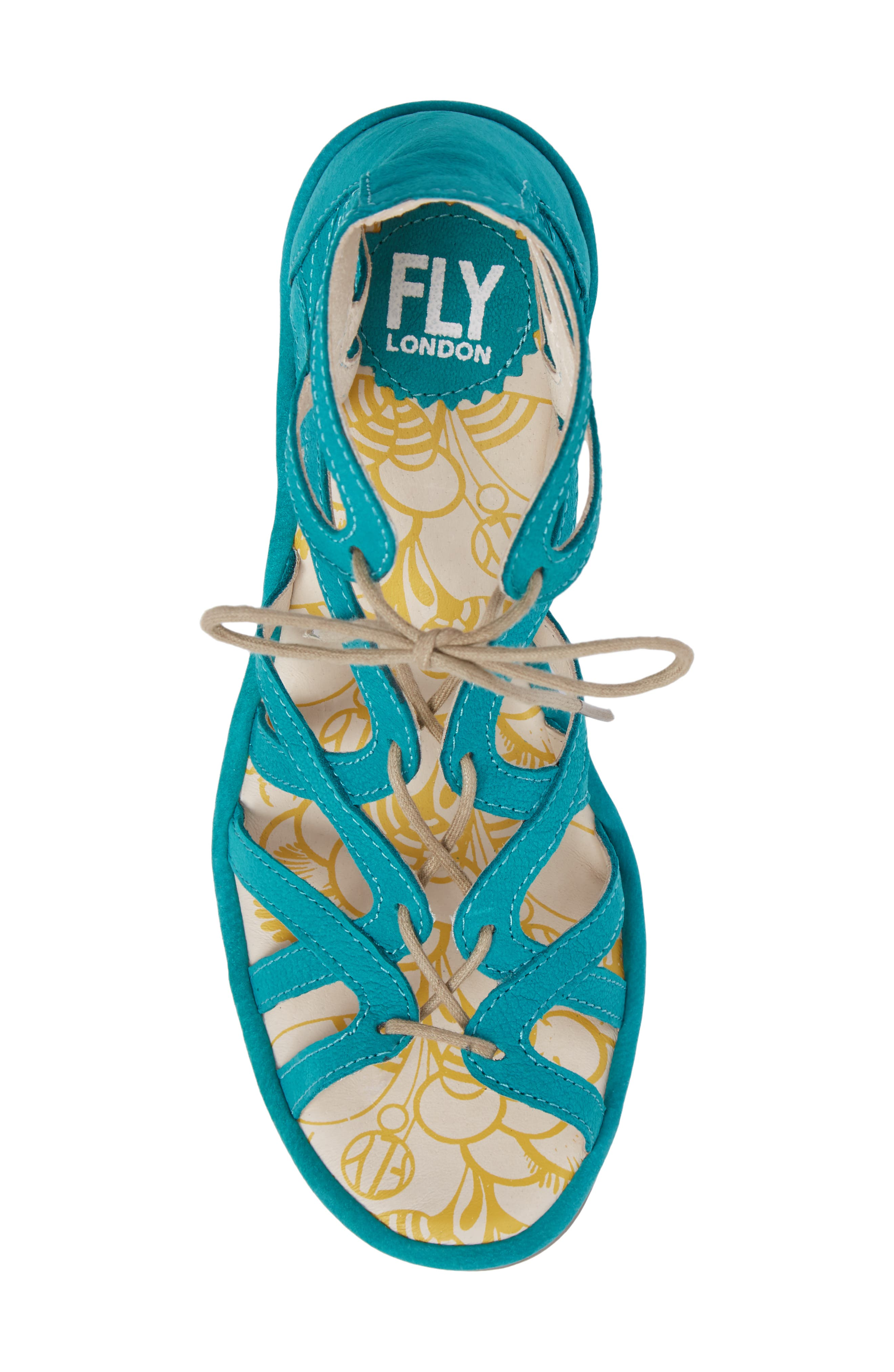 FLY LONDON, 'Yuke' Platform Wedge Sandal, Alternate thumbnail 5, color, VERDIGRIS LEATHER