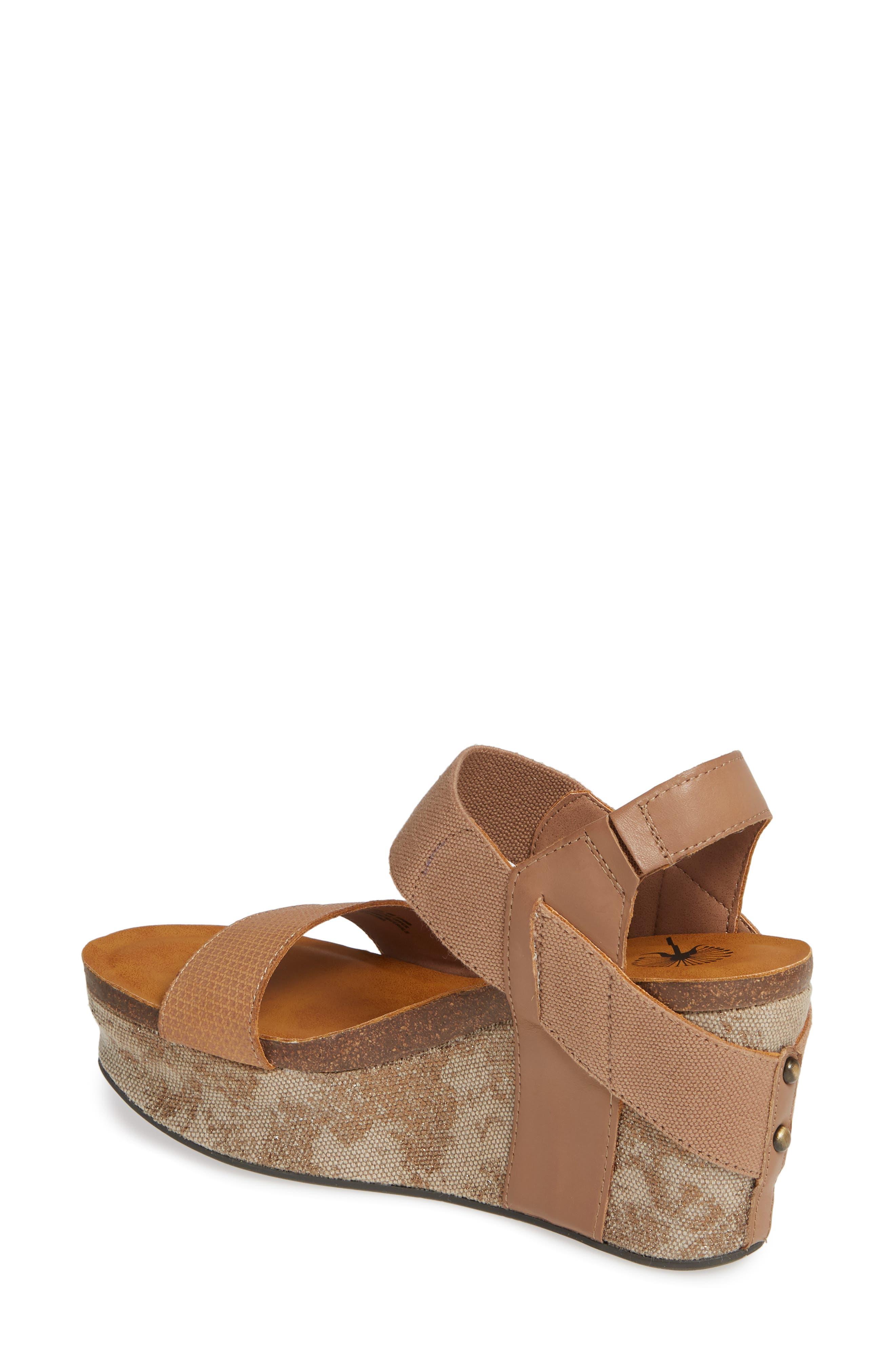 OTBT, 'Bushnell' Wedge Sandal, Alternate thumbnail 2, color, TAUPE LEATHER