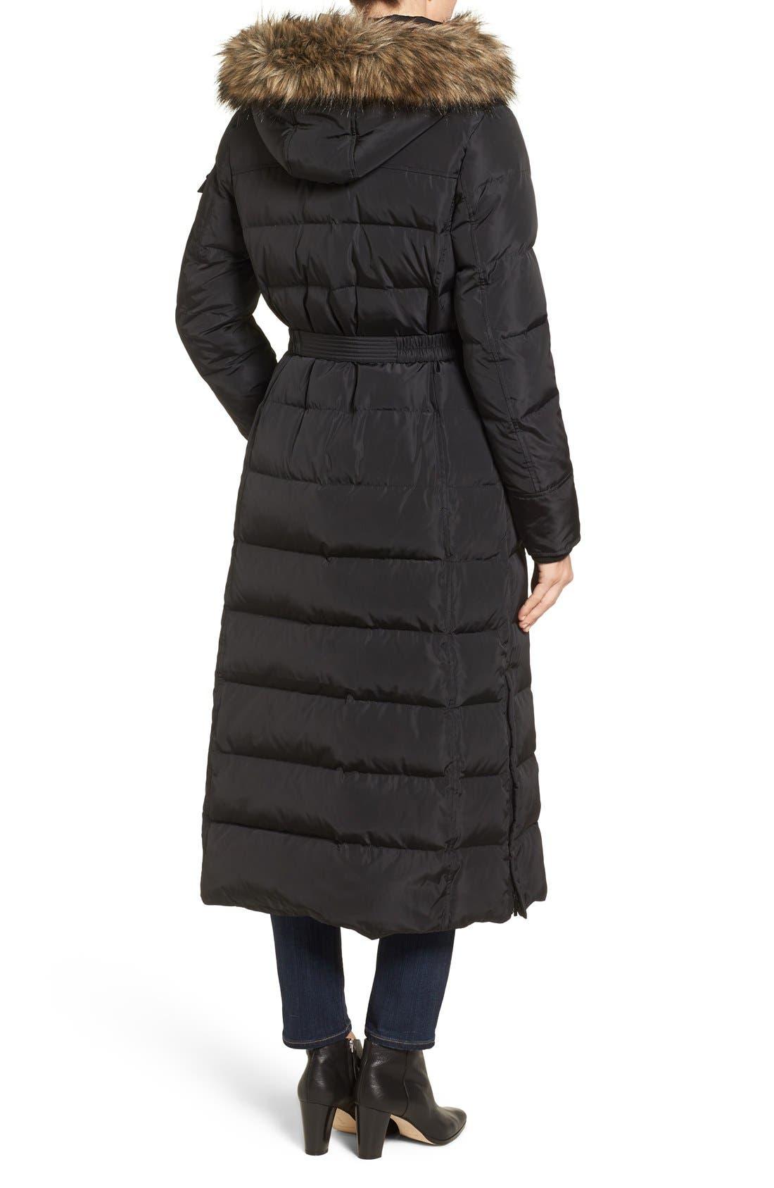 KORS MICHAEL KORS, Faux Fur Trim Belted Down & Feather Fill Maxi Coat, Alternate thumbnail 2, color, 001
