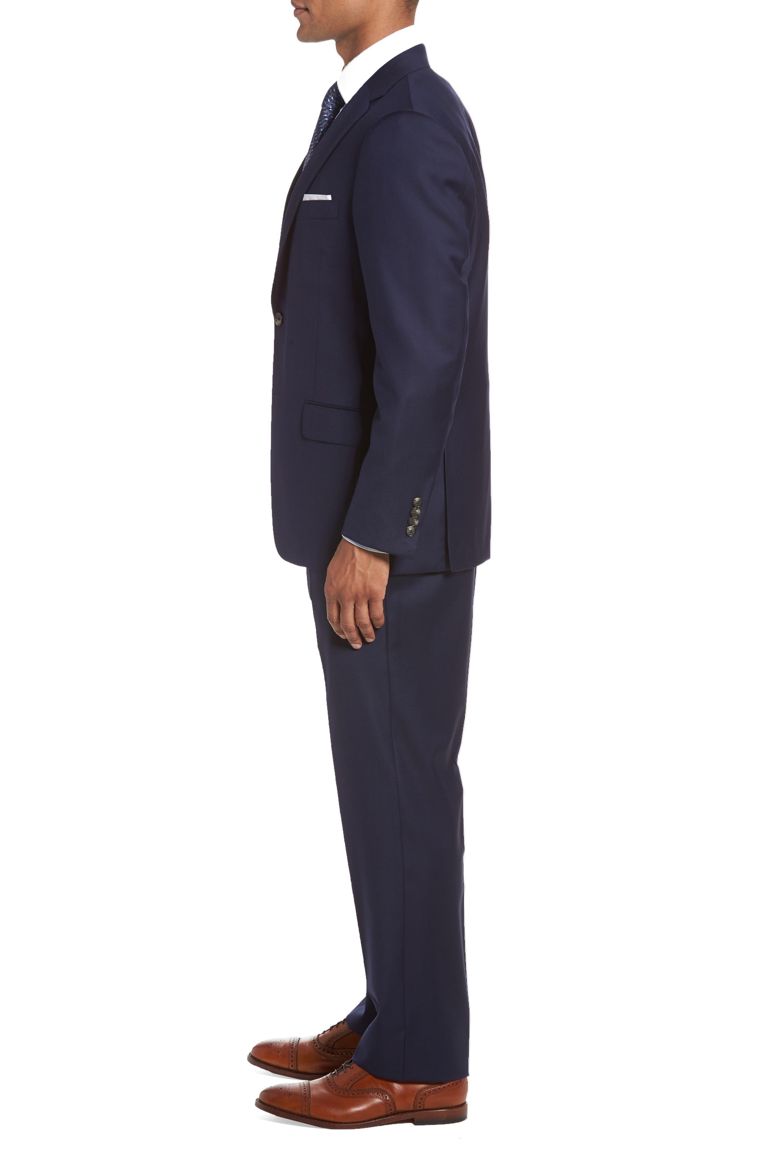 HICKEY FREEMAN, Classic B Fit Loro Piana Wool Suit, Alternate thumbnail 3, color, NAVY