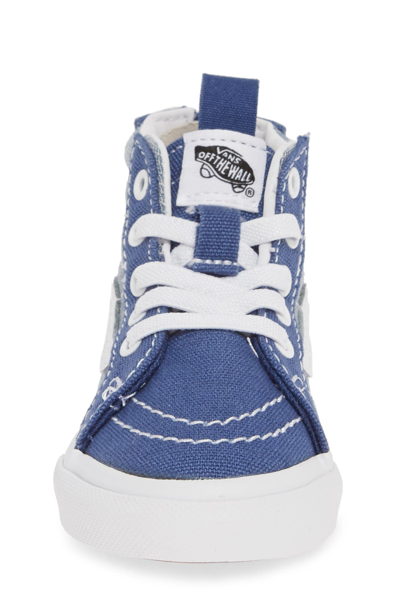VANS, 'Sk8-Hi' Sneaker, Alternate thumbnail 4, color, CHAMBRAY CANVAS NAVY/ WHITE