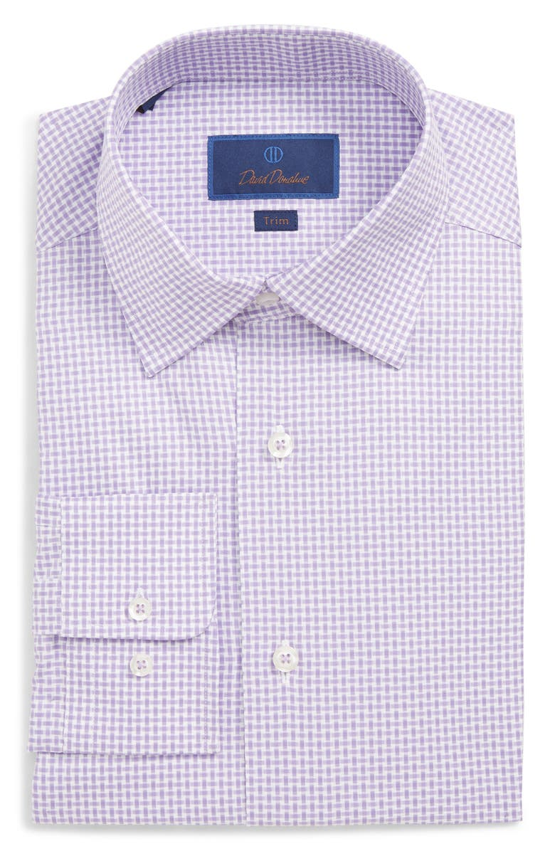 David Donahue  TRIM FIT PRINT DRESS SHIRT