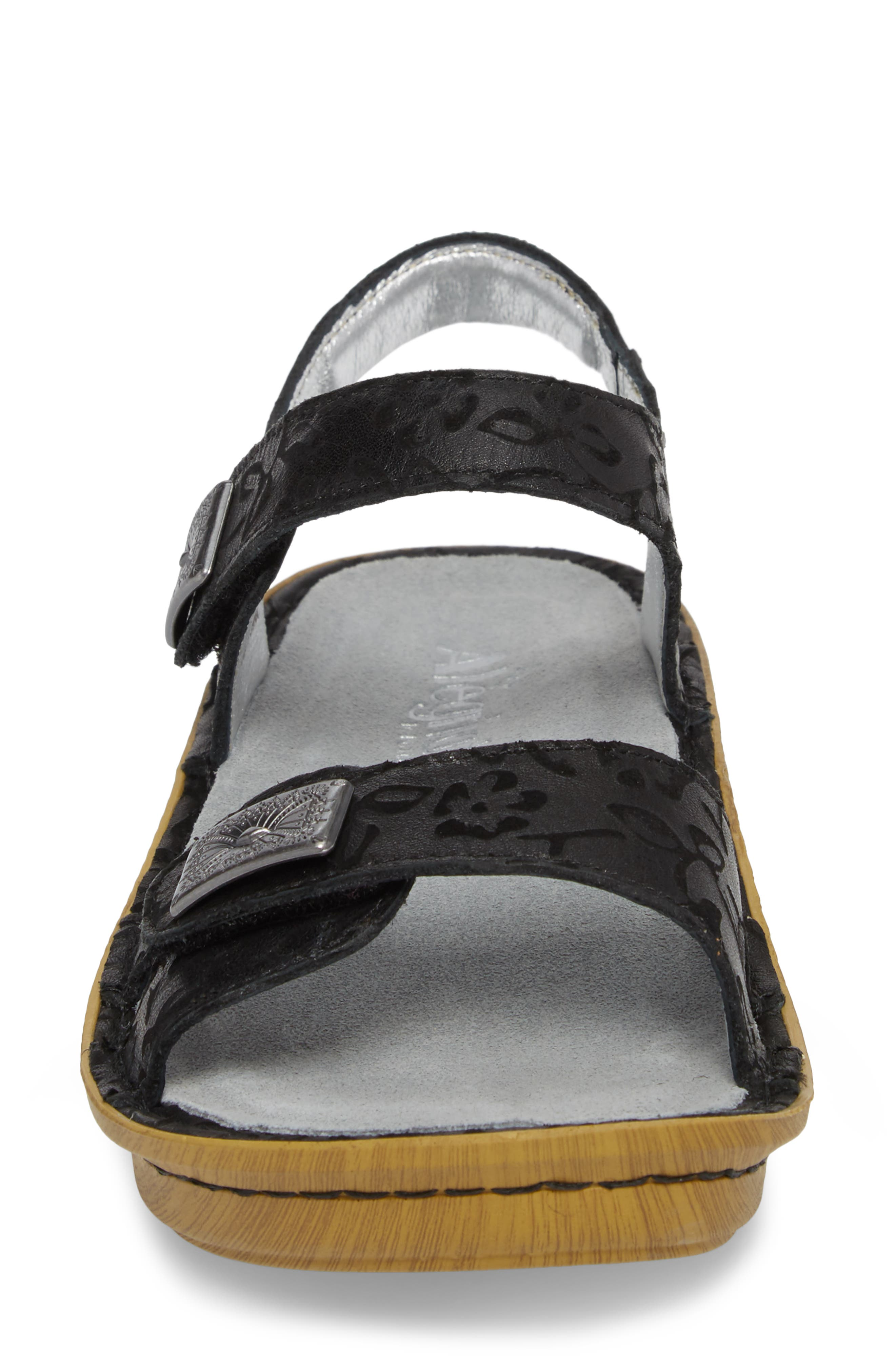 ALEGRIA, Vienna Sandal, Alternate thumbnail 4, color, MORNING GLORY BLACK LEATHER