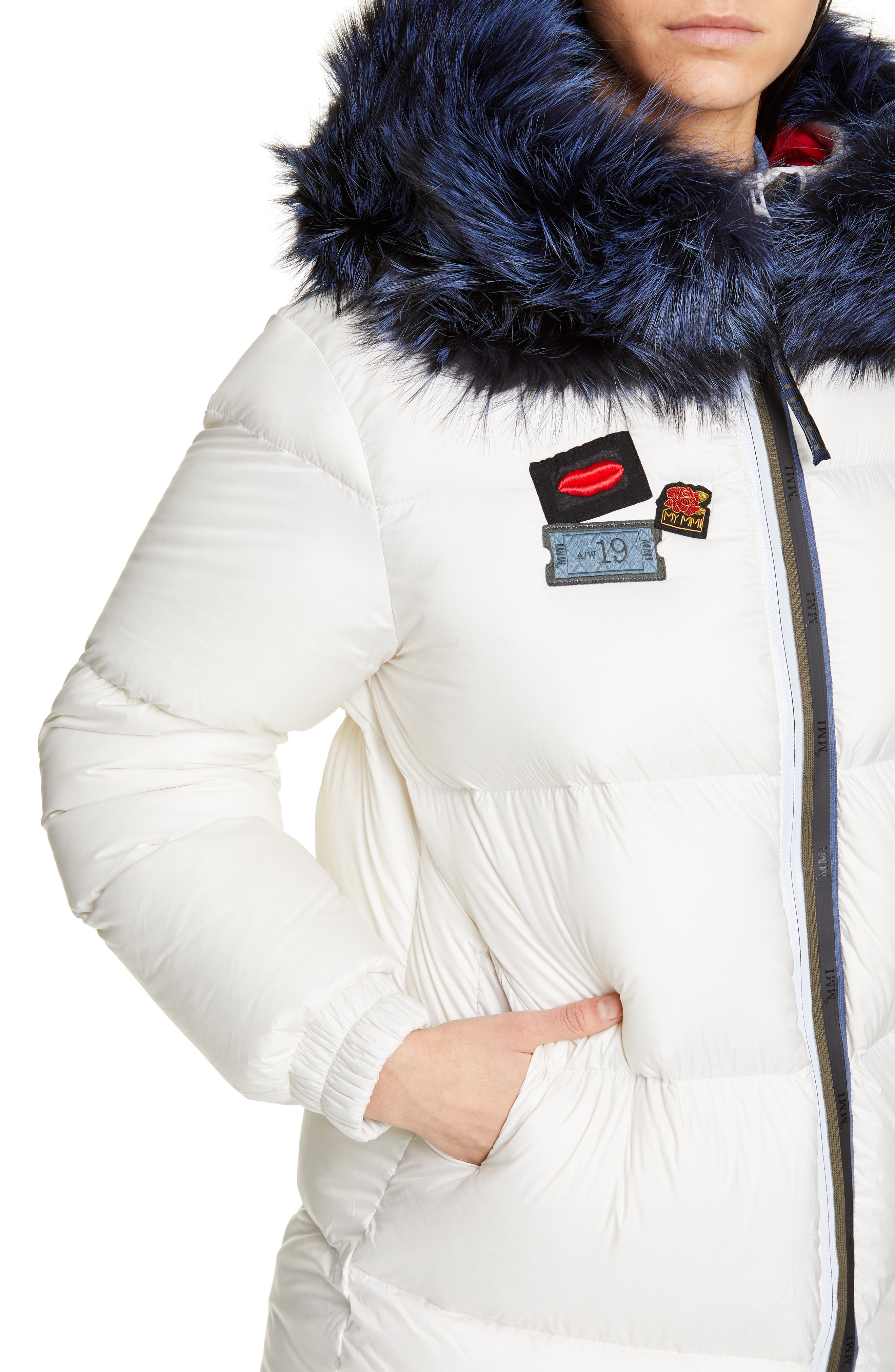 MR & MRS ITALY, Reversible Waterproof Down Parka with Removable Genuine Fox Fur Trim, Alternate thumbnail 5, color, WHITE / RED