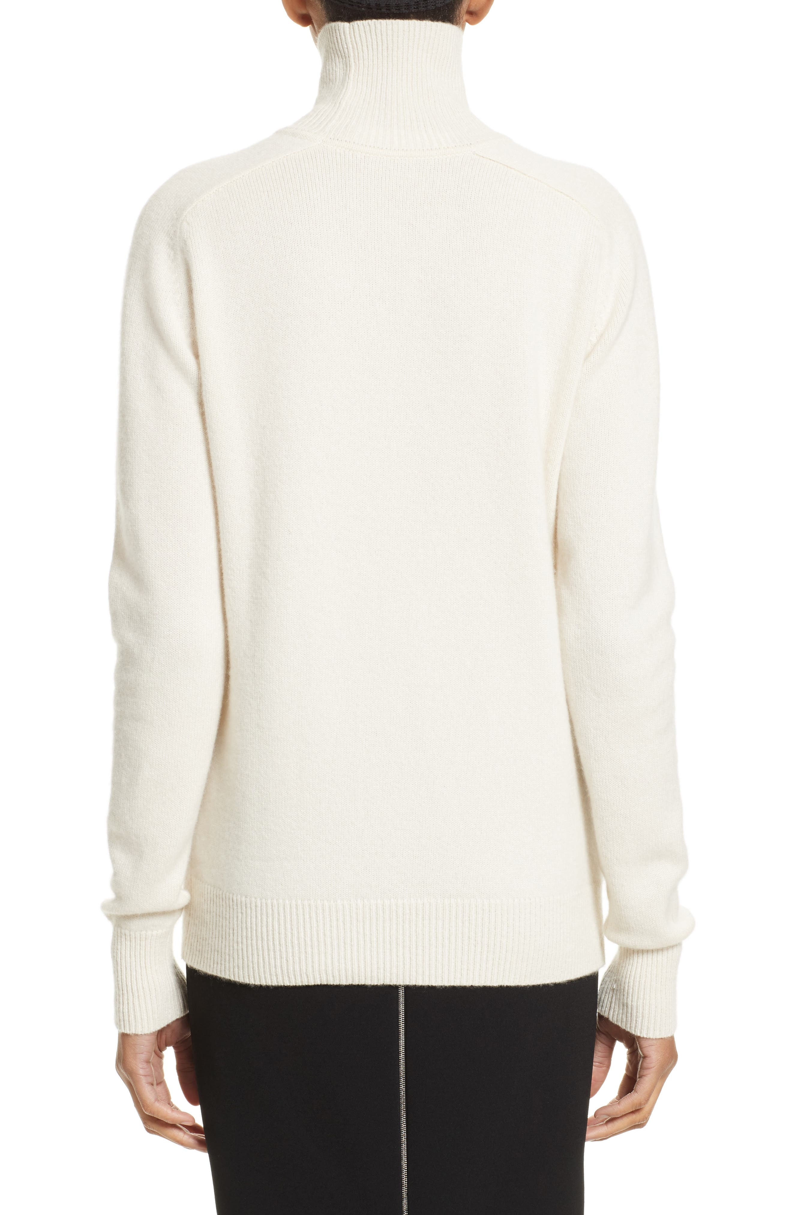 VICTORIA BECKHAM, Cashmere Turtleneck Sweater, Alternate thumbnail 2, color, VANILLA