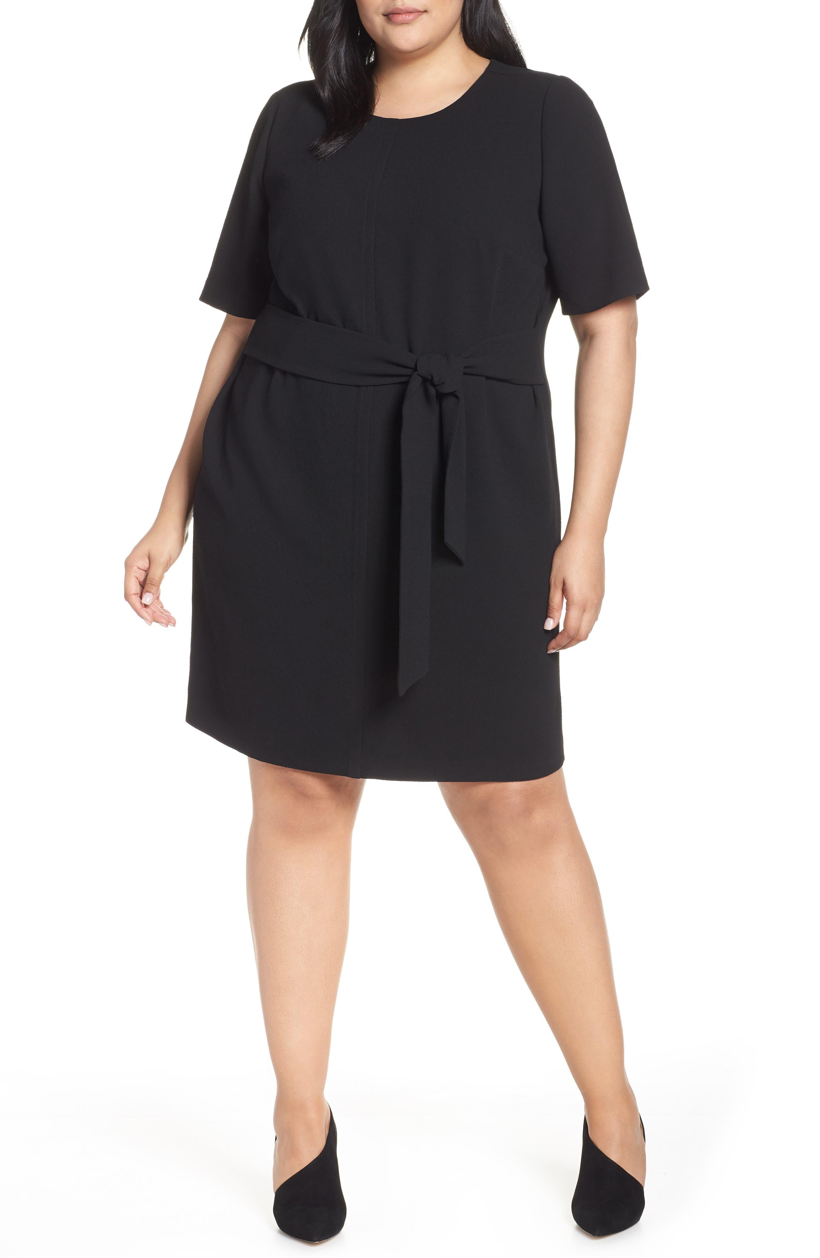 VINCE CAMUTO, Belt Parisian Crepe Dress, Main thumbnail 1, color, RICH BLACK
