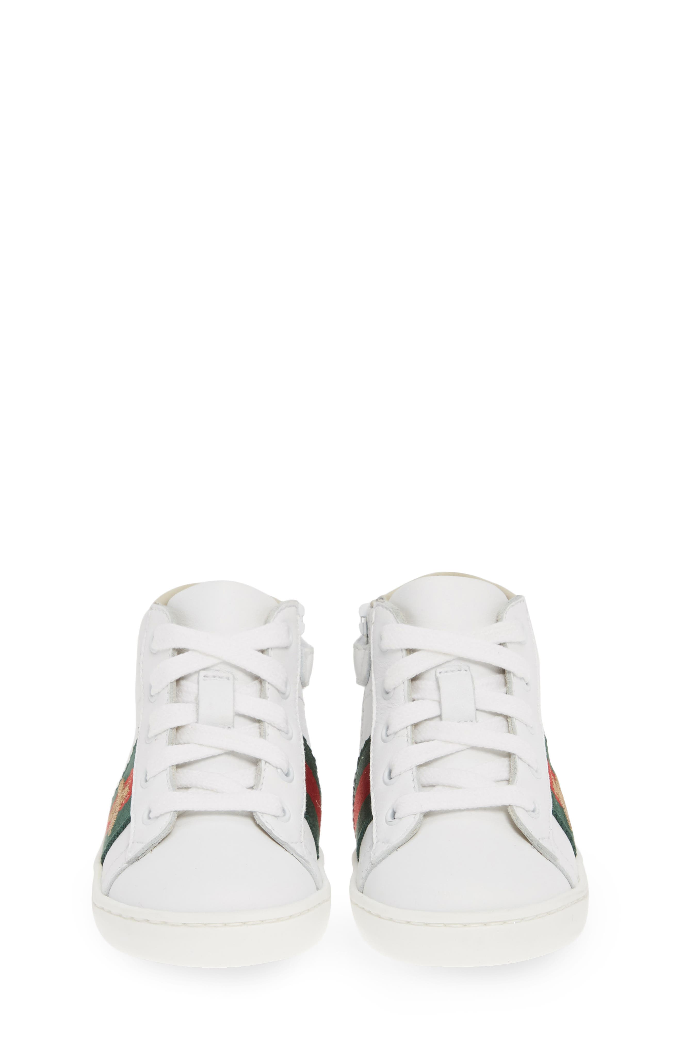 GUCCI, New Ace High Top Sneaker, Alternate thumbnail 5, color, WHITE MULTI