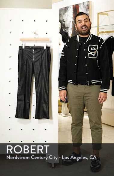 Pintuck Flare Faux Leather Trousers, sales video thumbnail