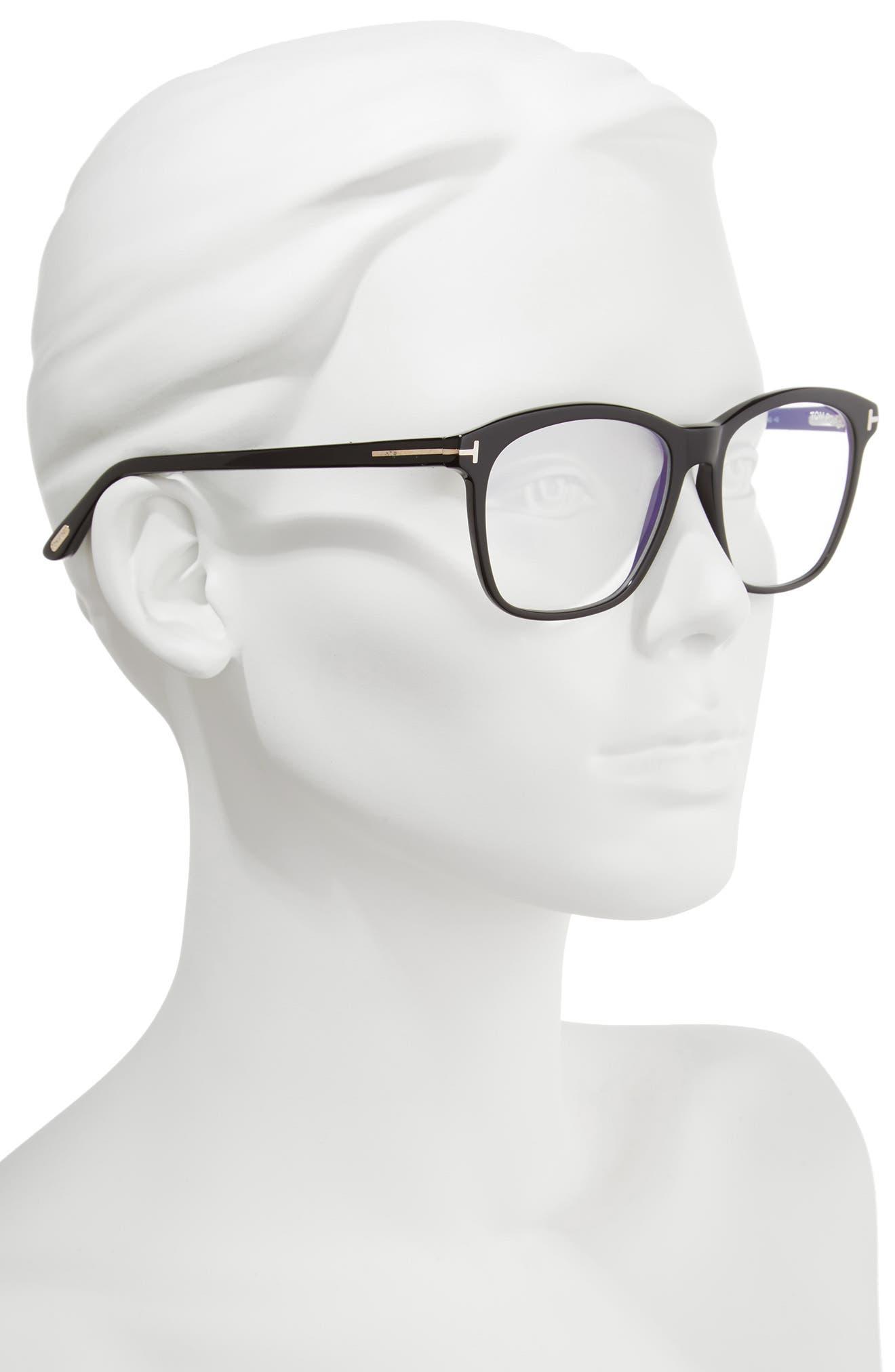 TOM FORD, 54mm Blue Block Optical Glasses, Alternate thumbnail 2, color, BLACK/ BLUE
