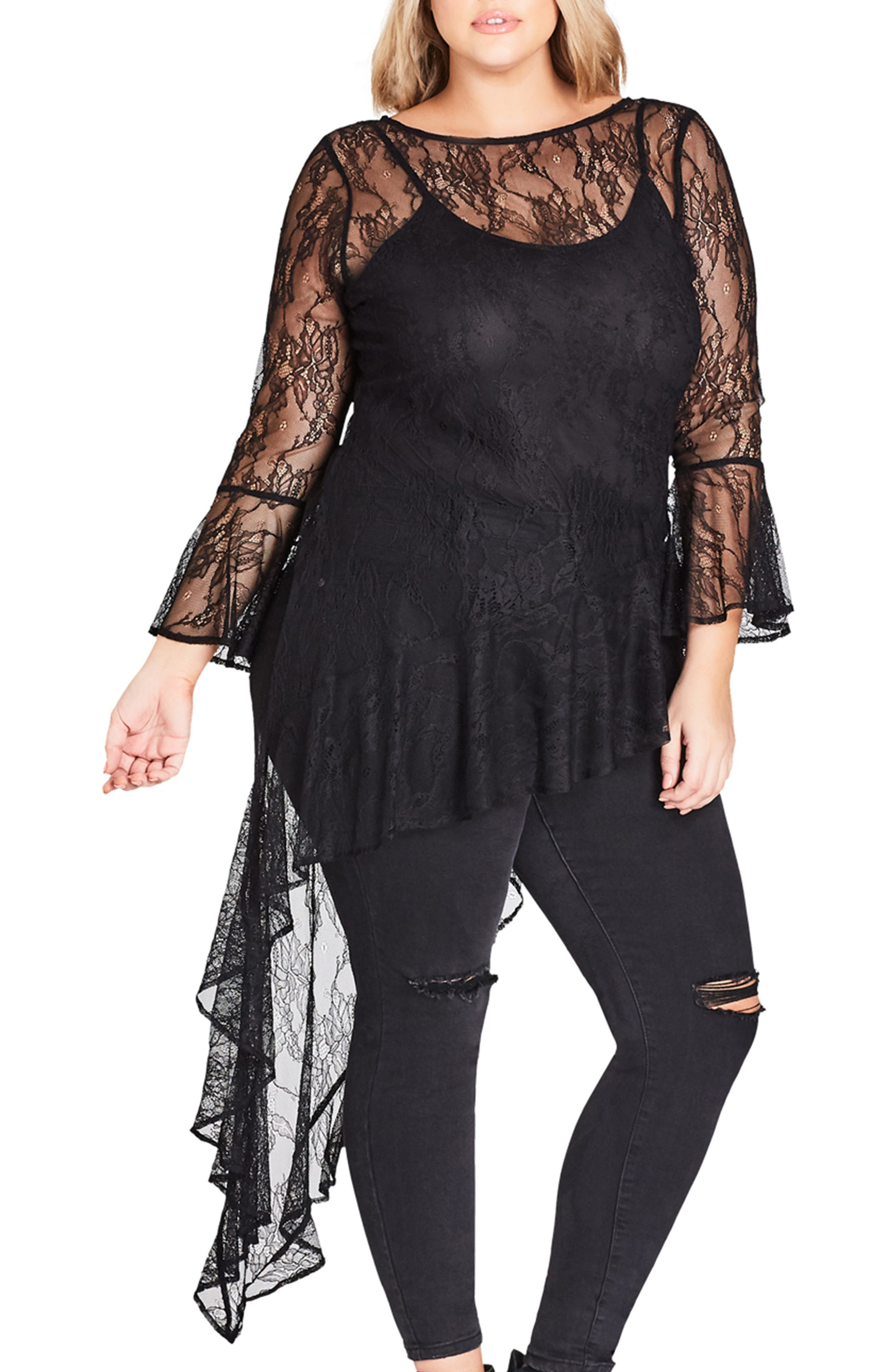 CITY CHIC Sheer Lace Top, Main, color, BLACK