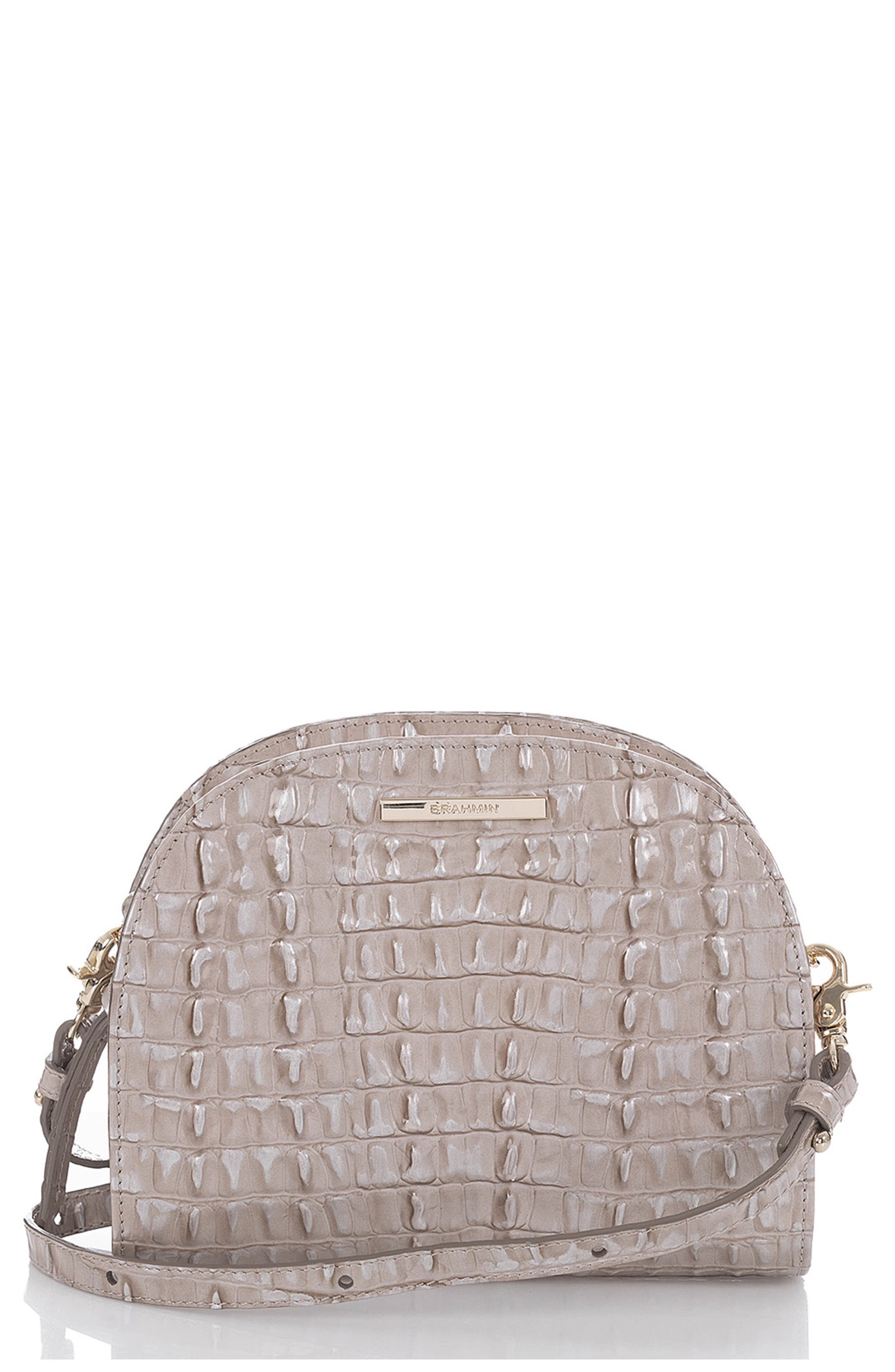 BRAHMIN Leah Croc Embossed Leather Crossbody Bag, Main, color, 020