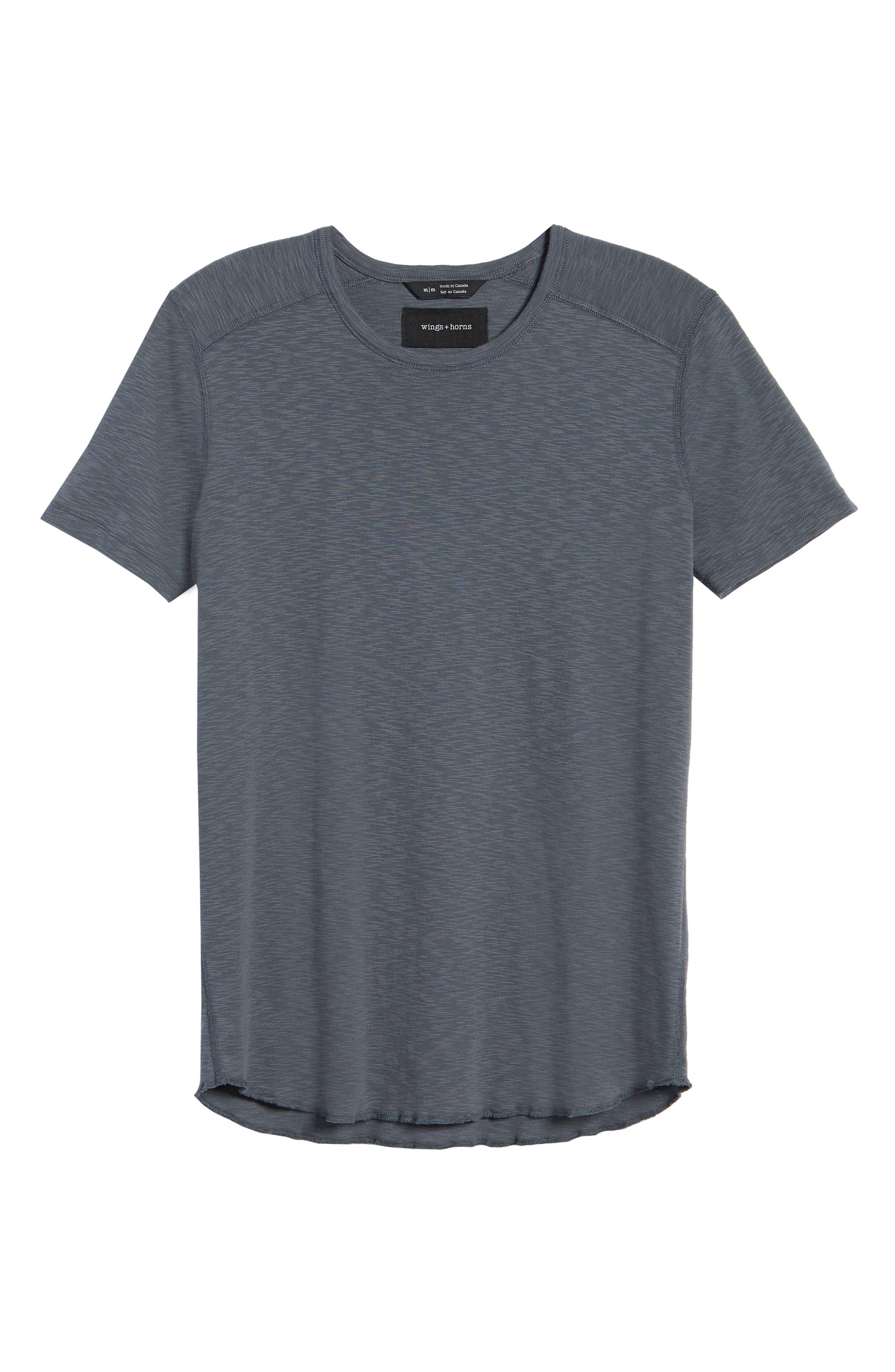 WINGS + HORNS, Ribbed Slub Cotton T-Shirt, Alternate thumbnail 6, color, SHADOW