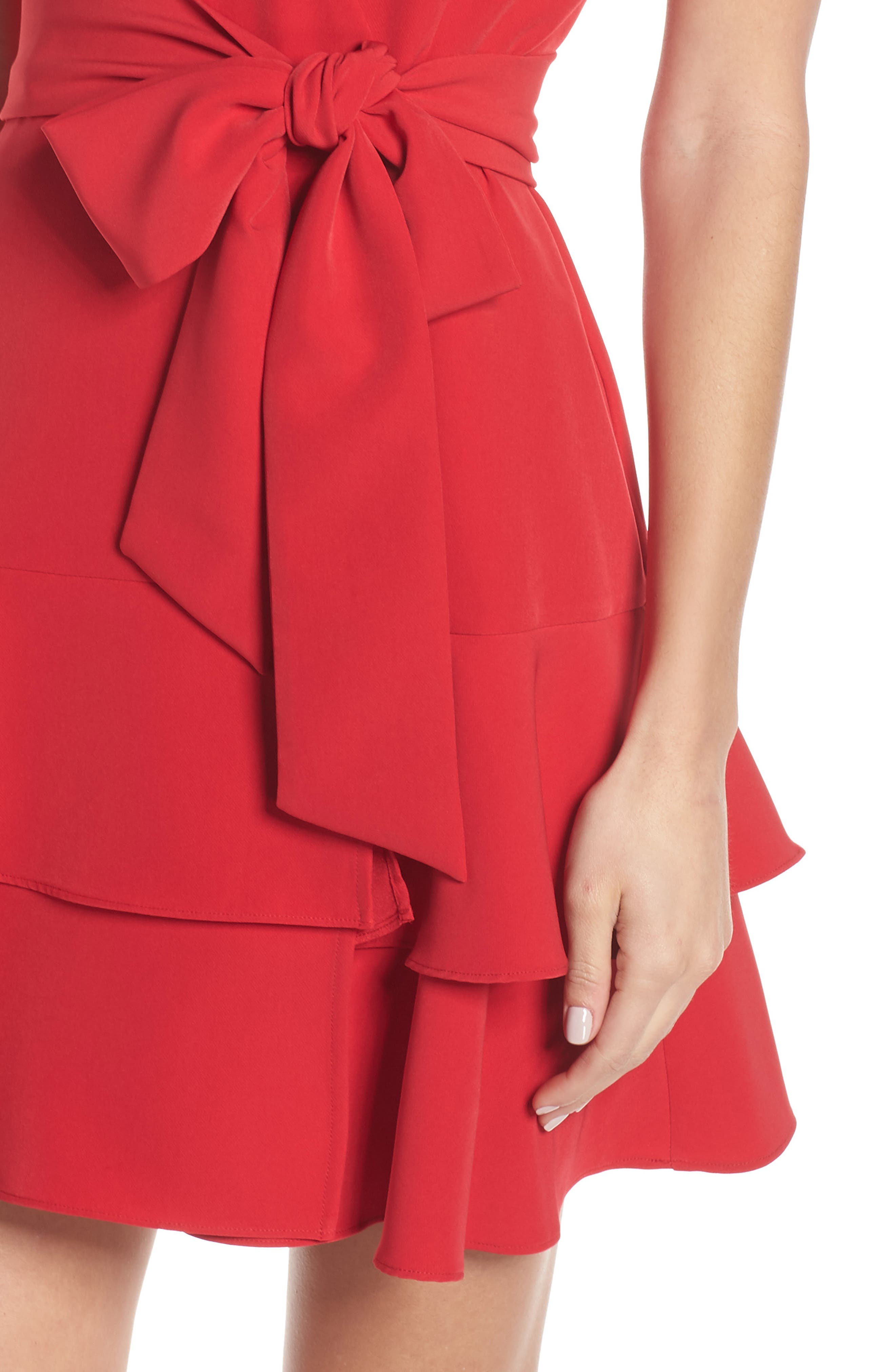 CHARLES HENRY, Ruffle Tiered Wrap Dress, Alternate thumbnail 5, color, SCARLET