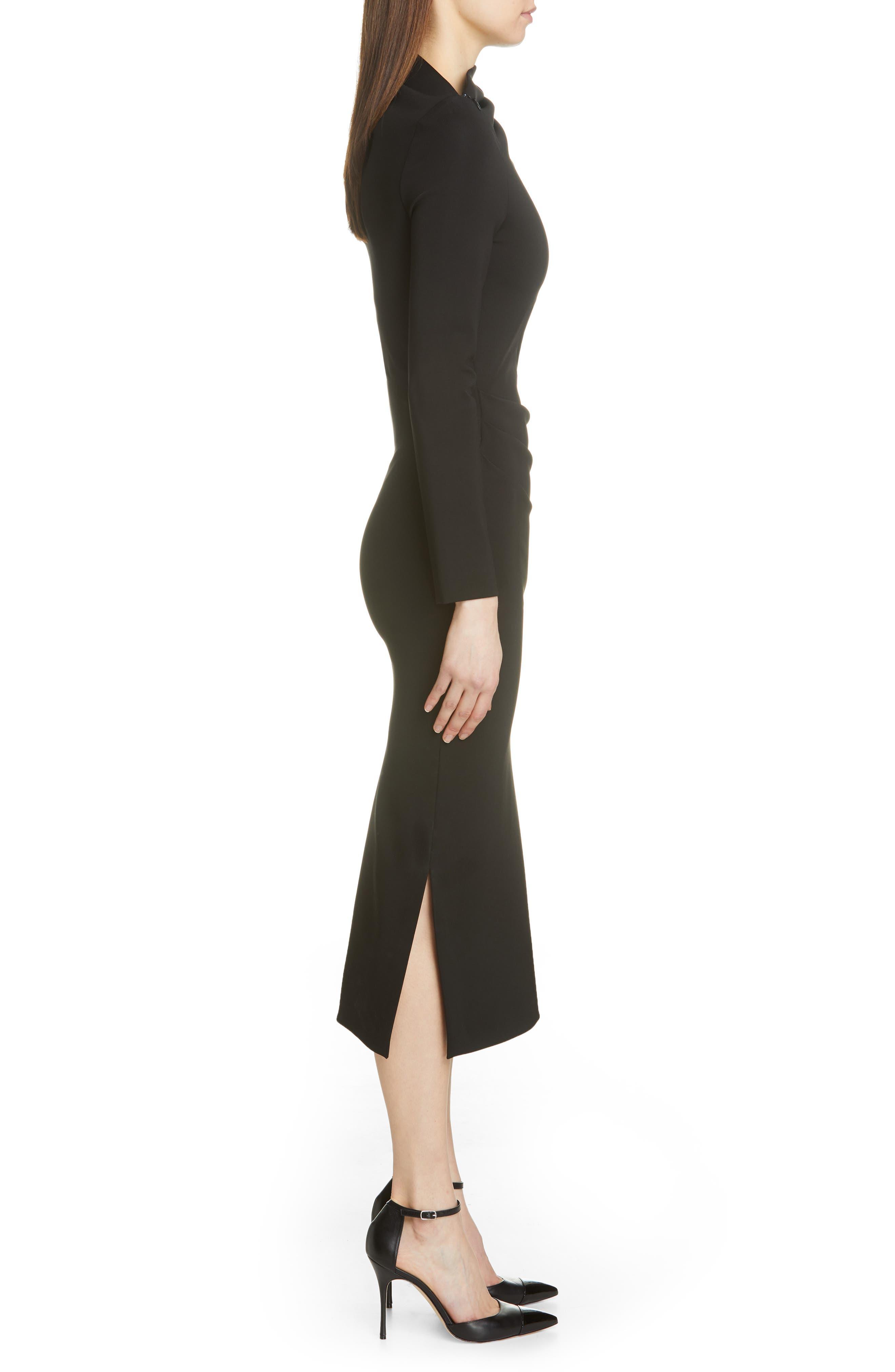 BRANDON MAXWELL, Side Drape Jersey Dress, Alternate thumbnail 4, color, BLACK