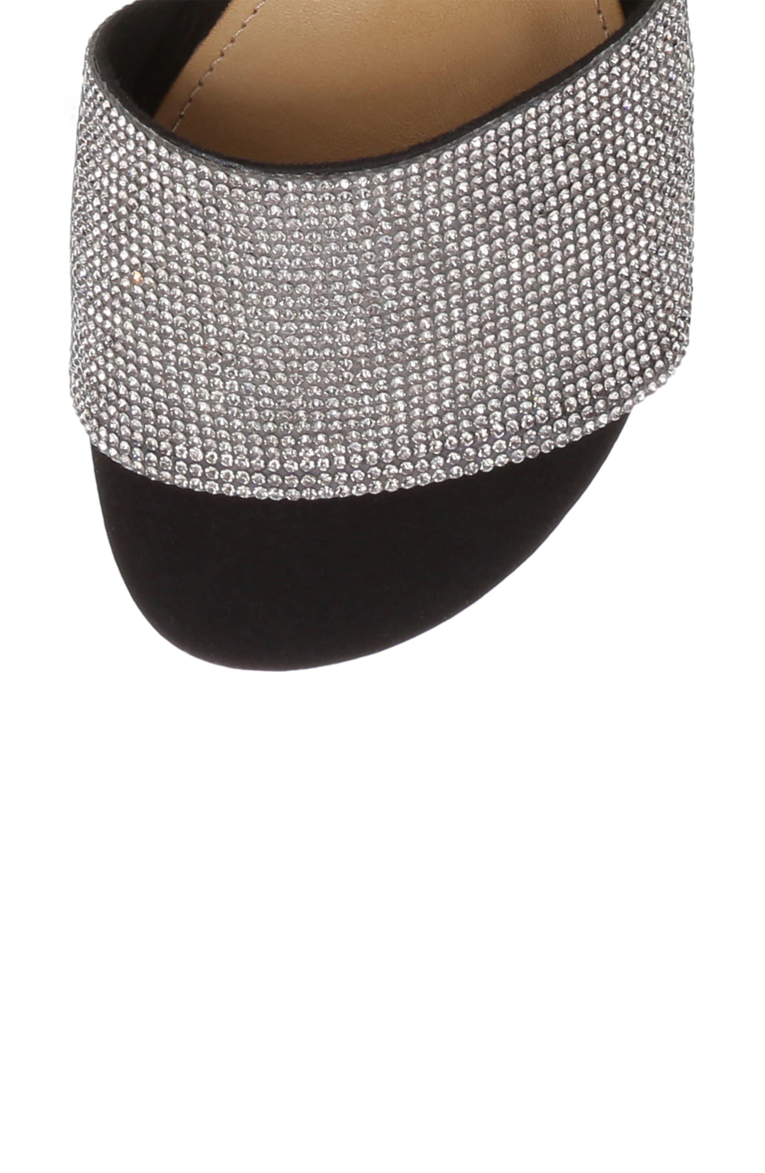 SCHUTZ, Queren Embellished Slide Sandal, Alternate thumbnail 6, color, BLACK/ BLACK DIAMOND FABRIC