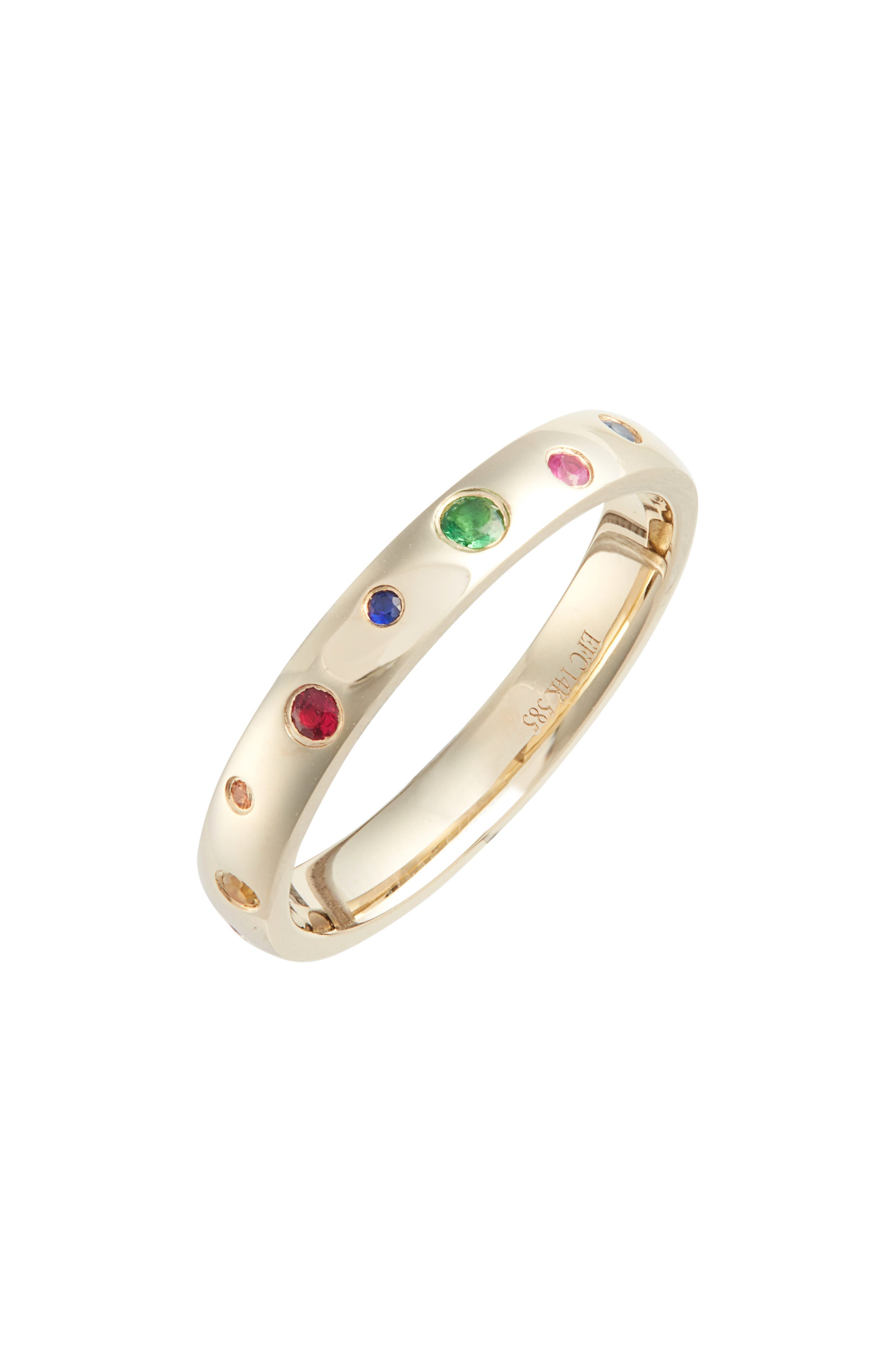 EF COLLECTION, Rainbow Speckled Stacking Ring, Main thumbnail 1, color, YELLOW GOLD