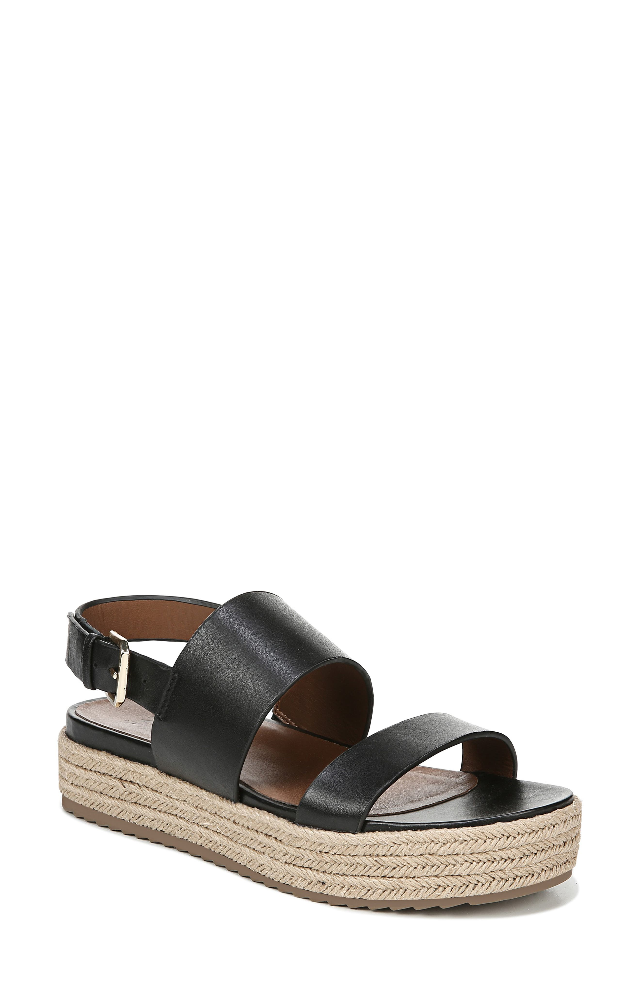 NATURALIZER Jaycie Platform Sandal, Main, color, BLACK LEATHER