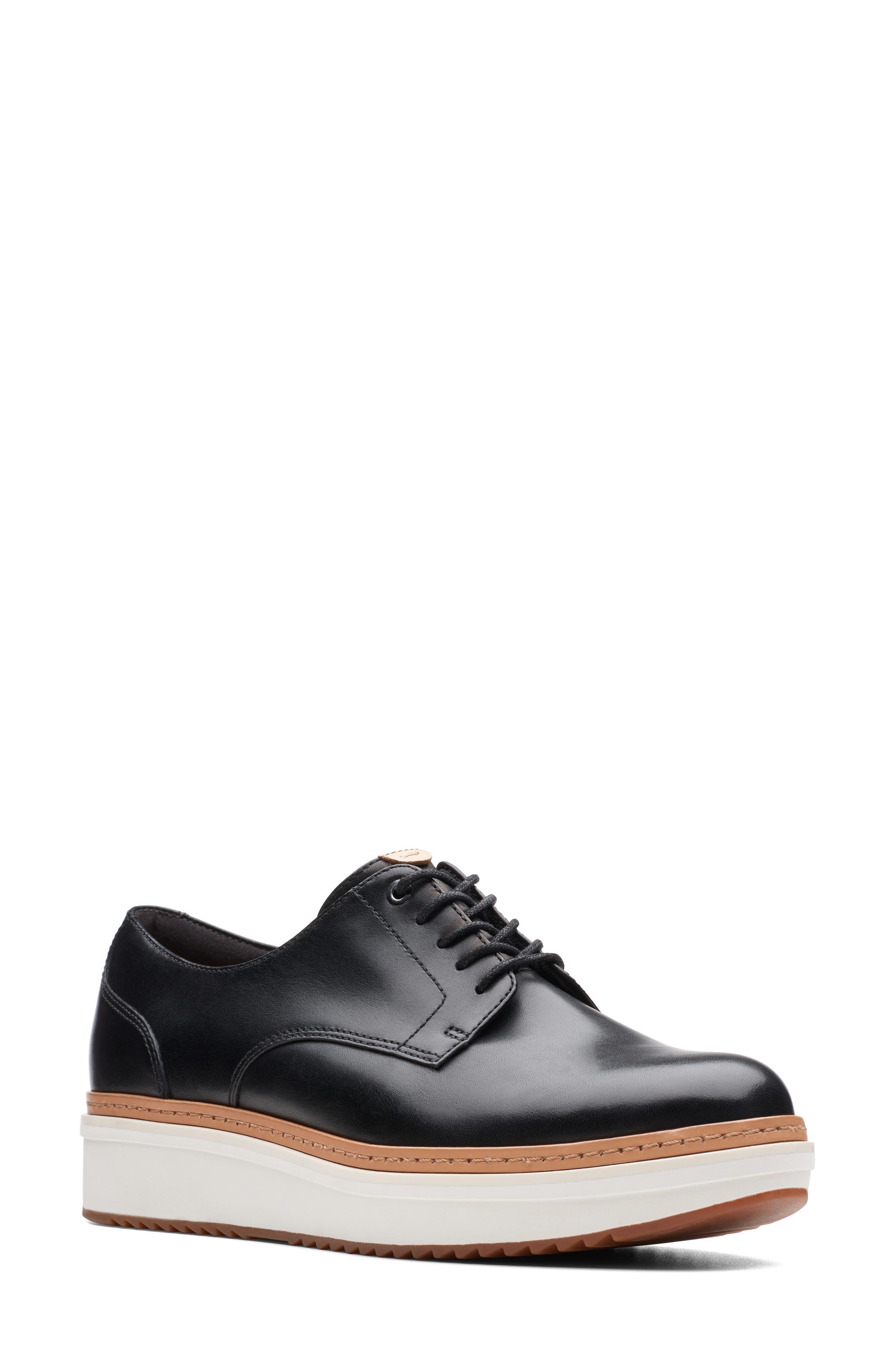 CLARKS<SUP>®</SUP> Teadale Rhea Platform Oxford, Main, color, BLACK LEATHER