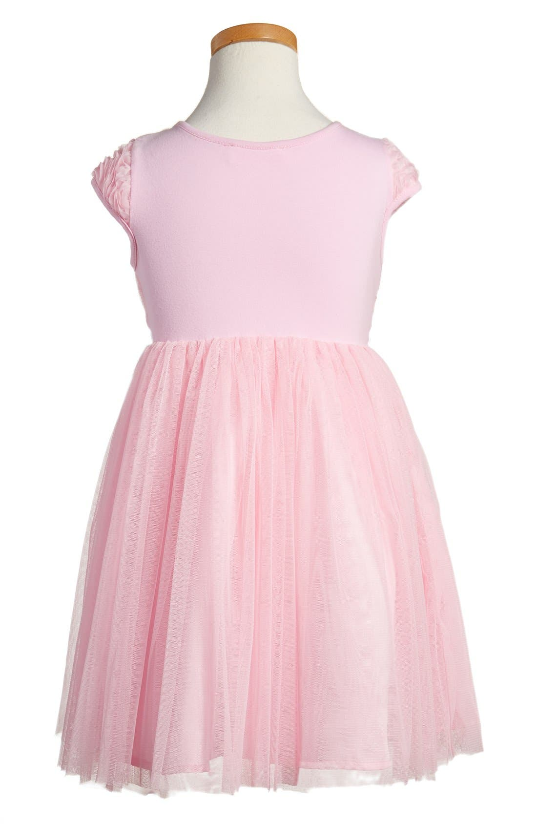 POPATU, Ribbon Rosette Tulle Dress, Alternate thumbnail 2, color, PINK