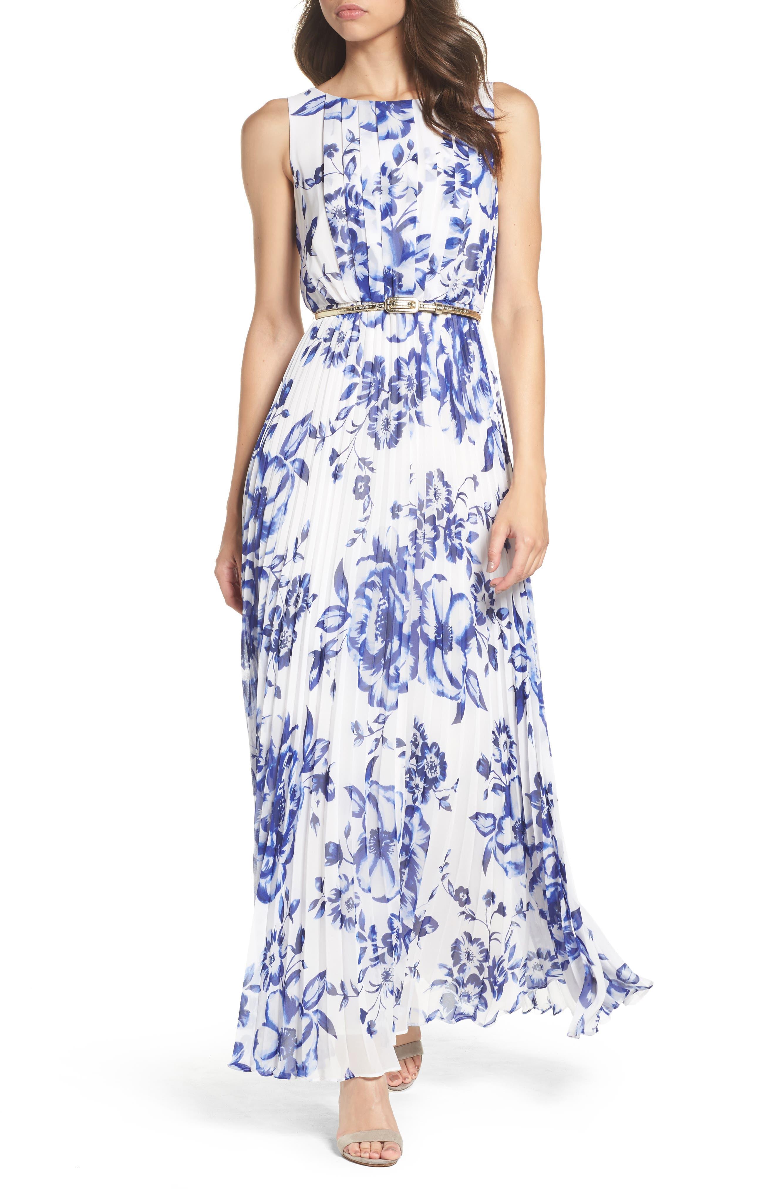 ELIZA J, Pleated Floral Chiffon Maxi Dress, Main thumbnail 1, color, COBALT