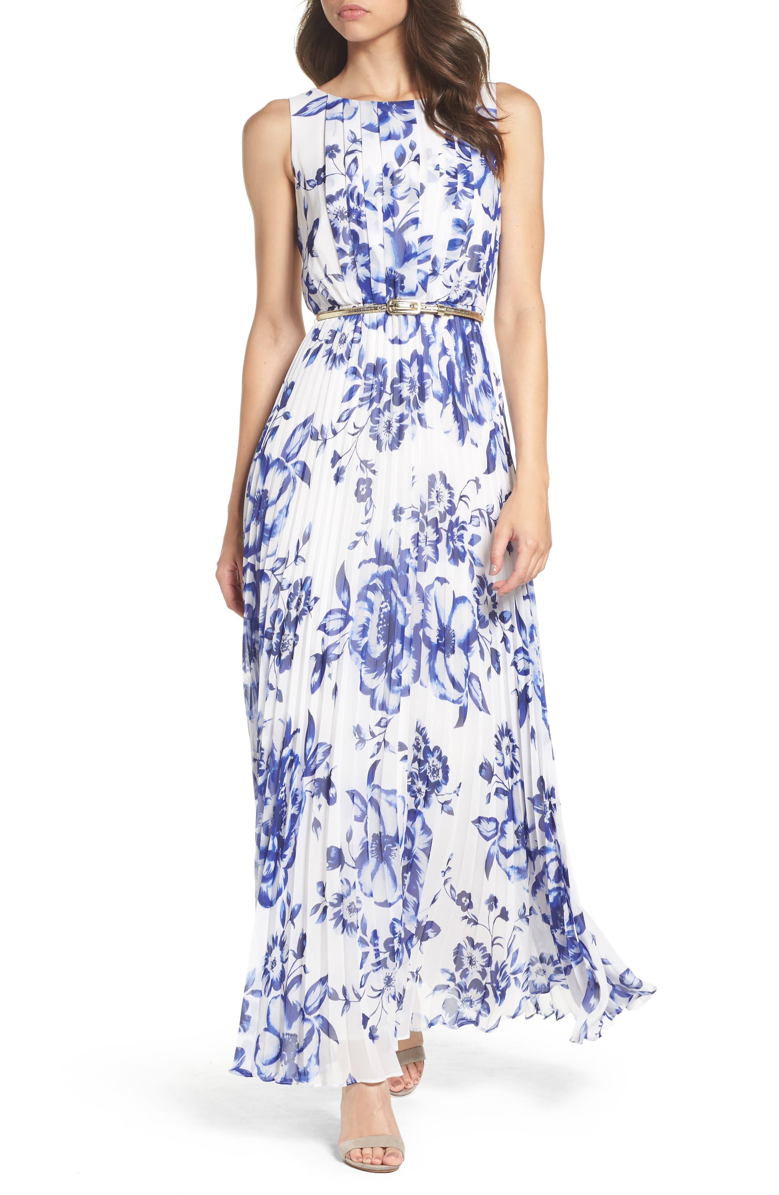 ELIZA J Pleated Floral Chiffon Maxi Dress, Main, color, COBALT