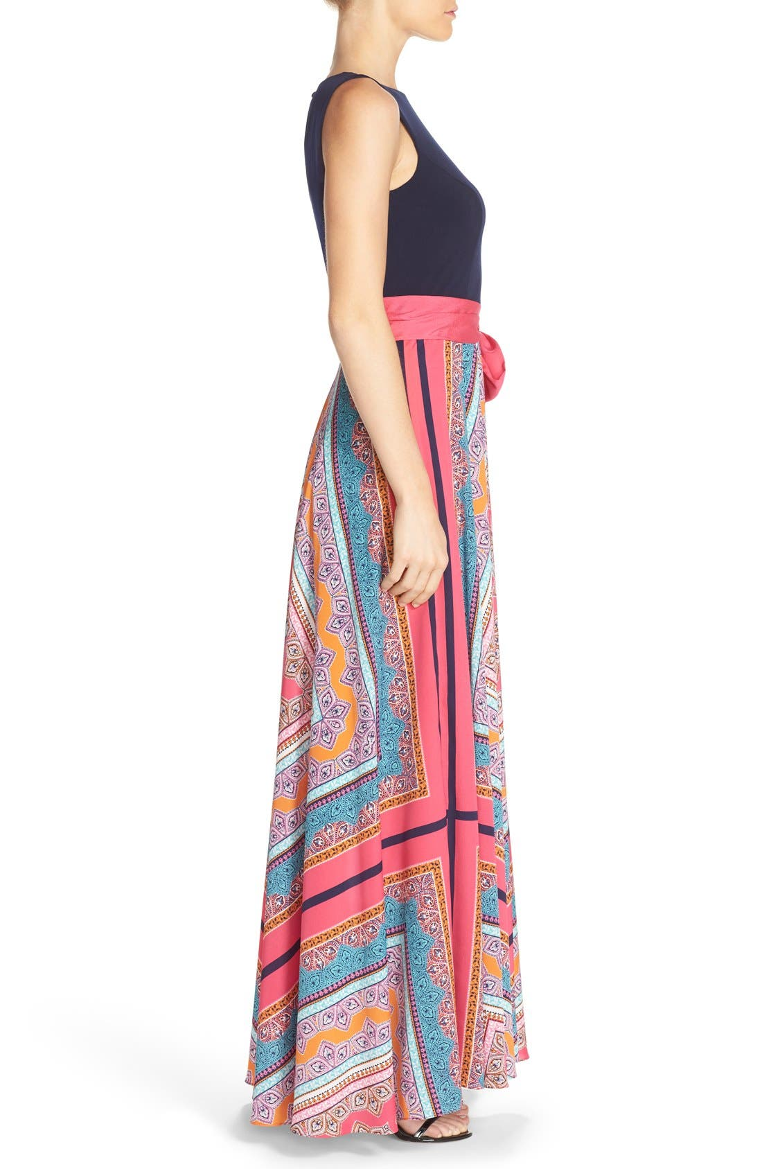 ELIZA J, Scarf Print Jersey & Crêpe de Chine Maxi Dress, Alternate thumbnail 8, color, PINK