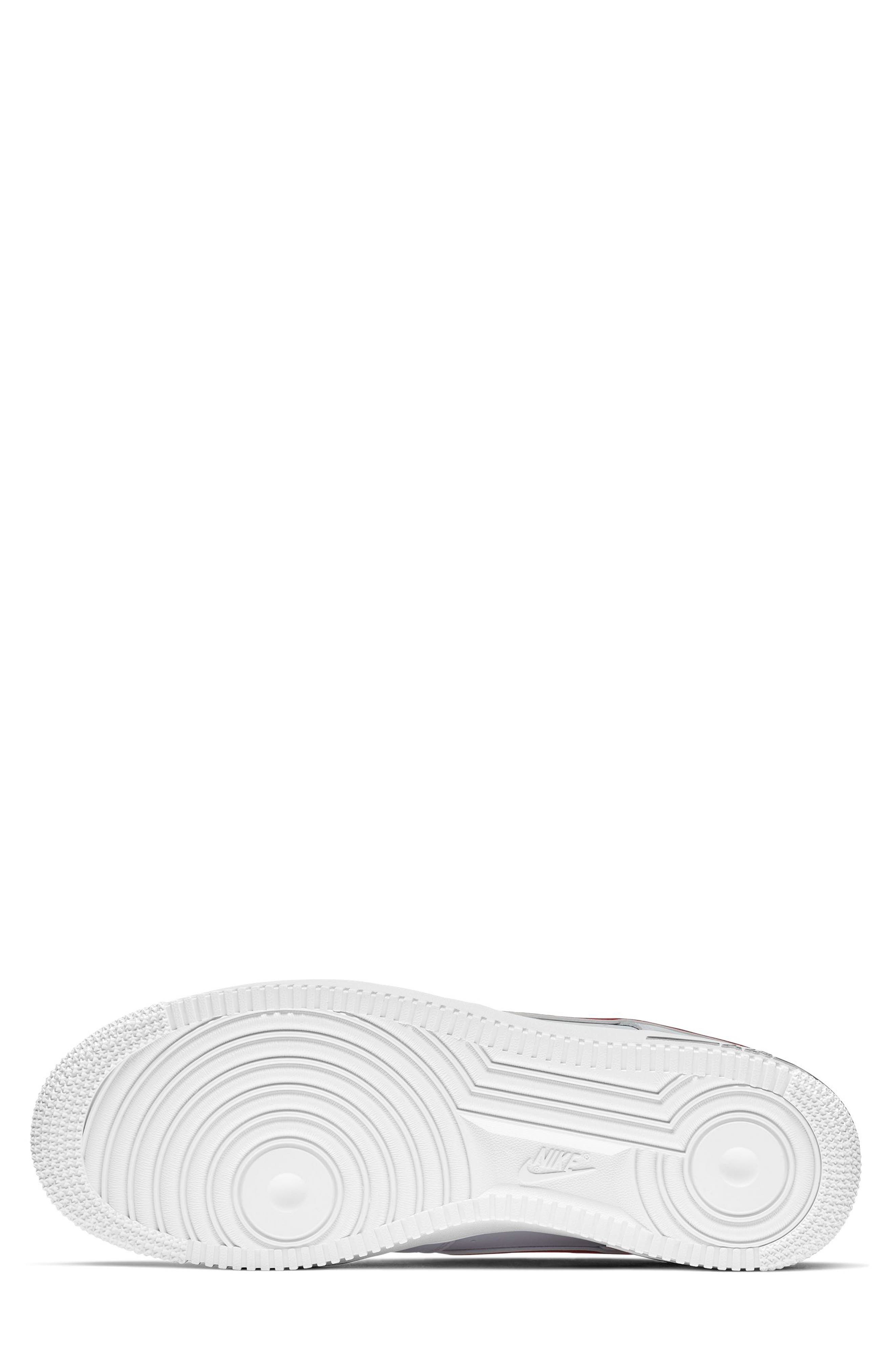 NIKE, Air Force 1 '07 3 Sneaker, Alternate thumbnail 4, color, WHITE/ GYM RED