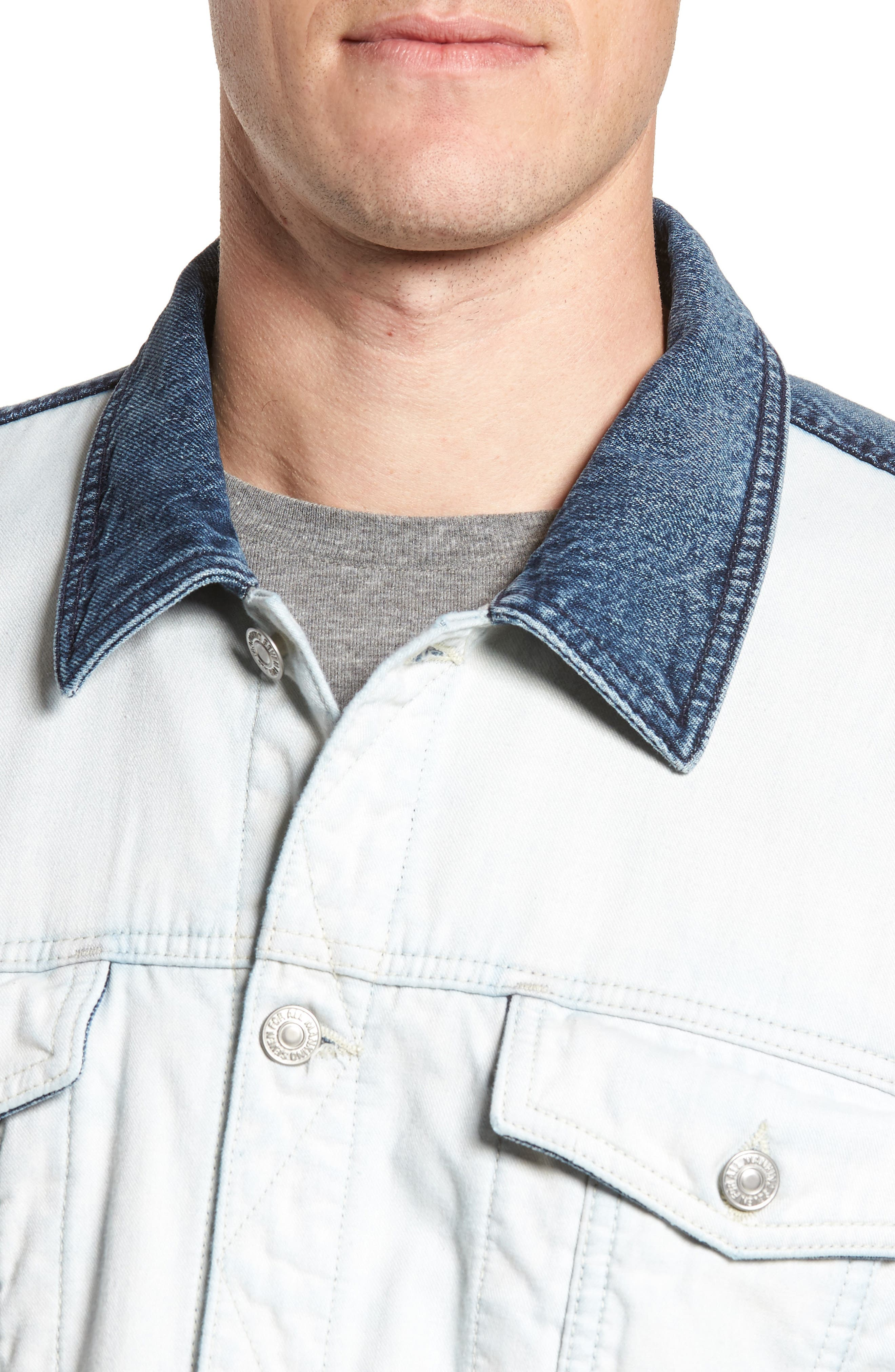 7 FOR ALL MANKIND<SUP>®</SUP>, Inside Out Trucker Jacket, Alternate thumbnail 4, color, VINTAGE BLUE