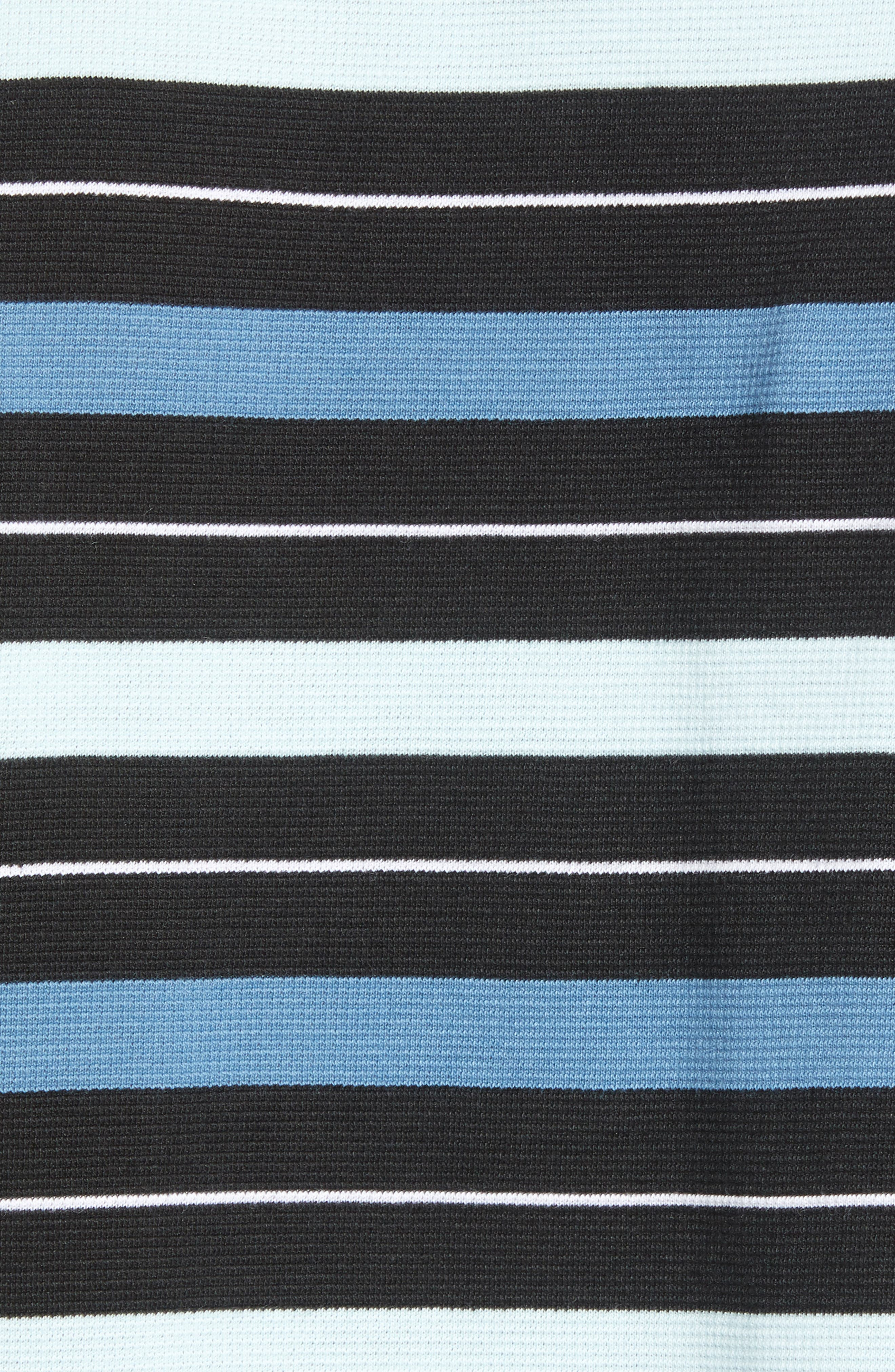 LACOSTE, Super Light Stripe Piqué Polo, Alternate thumbnail 5, color, BLACK/ AQUARIUM-WHITE-NEOTTIA