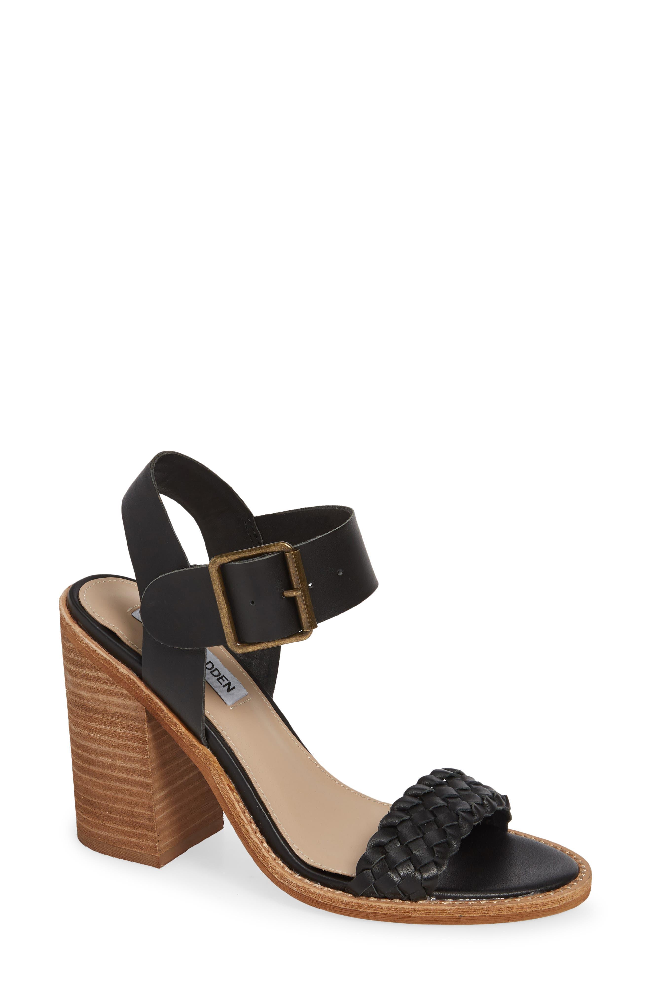STEVE MADDEN Cadence Sandal, Main, color, BLACK LEATHER