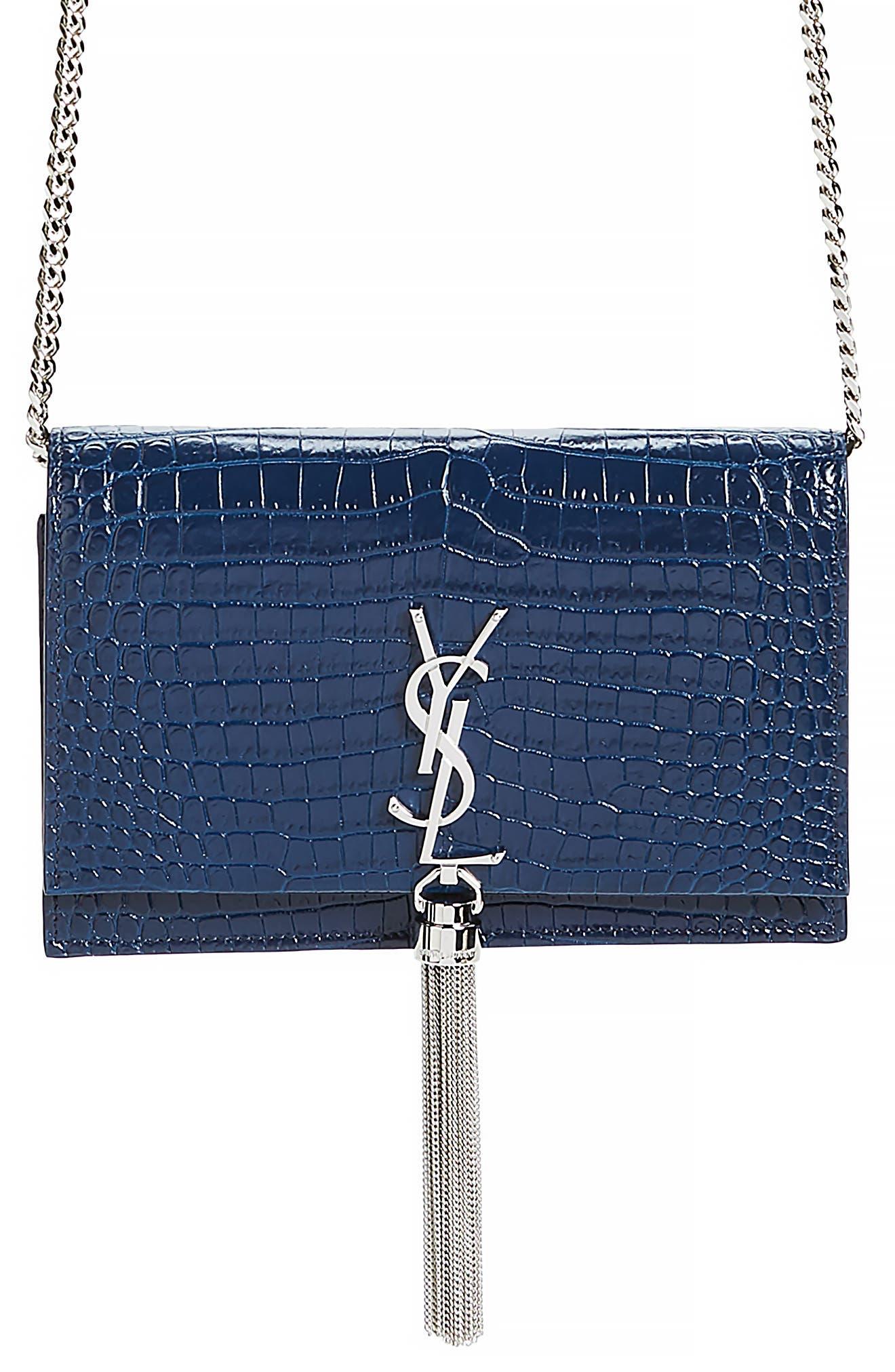 SAINT LAURENT, Kate Croc Embossed Leather Wallet on a Chain, Main thumbnail 1, color, DENIM BLUE/ DENIM BLUE