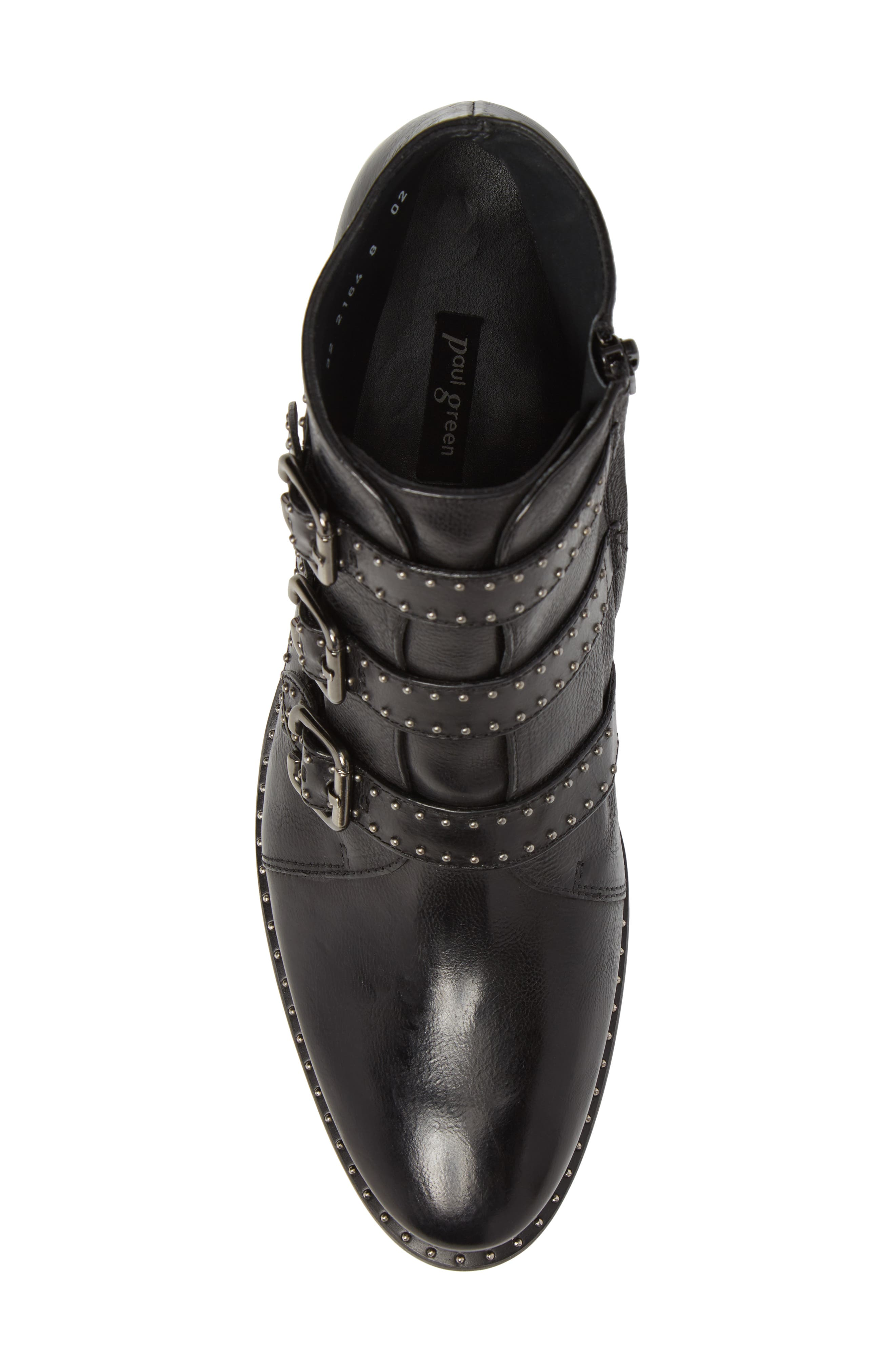 PAUL GREEN, Soho Bootie, Alternate thumbnail 5, color, BLACK LEATHER