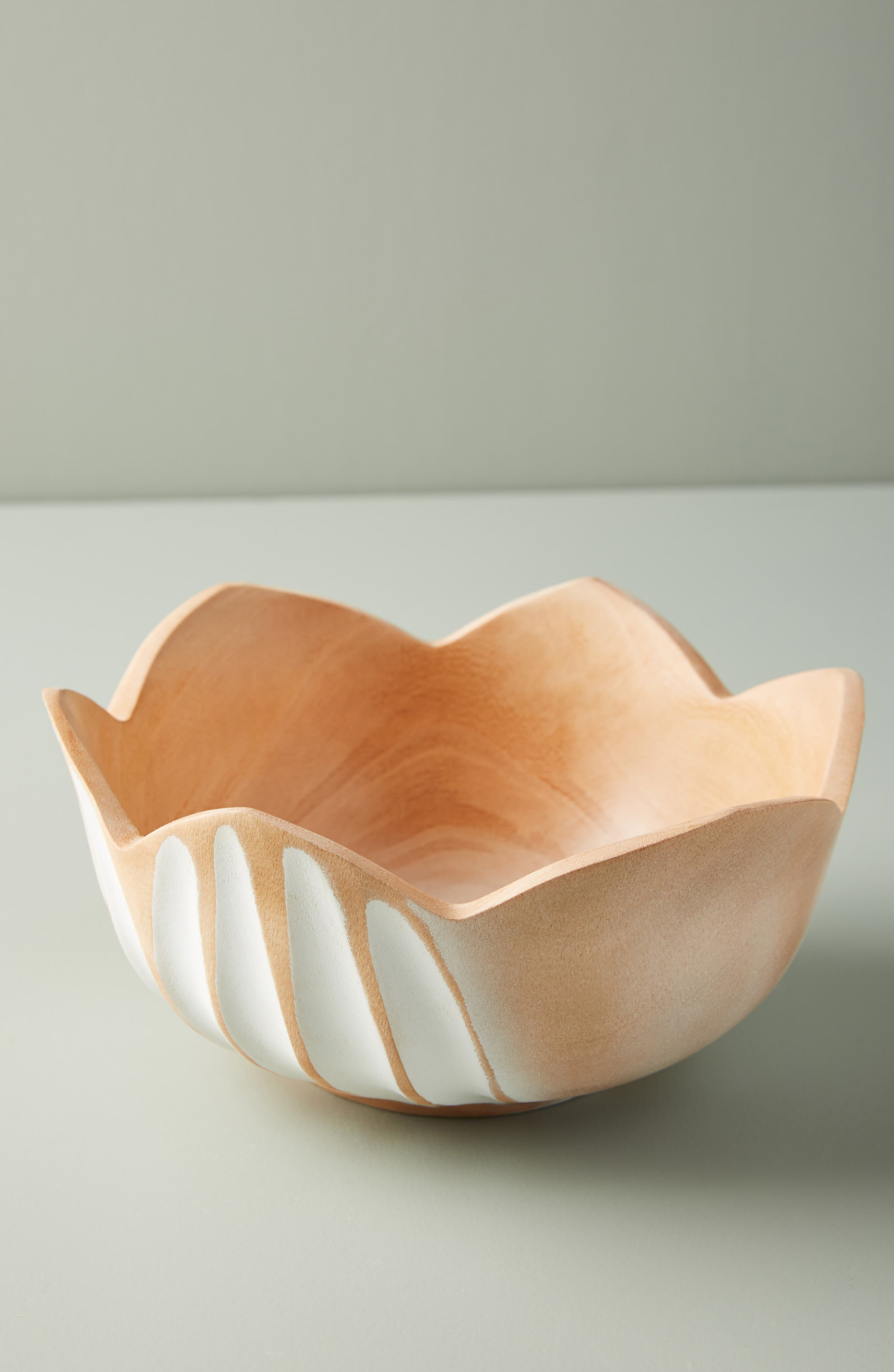 ANTHROPOLOGIE Lotus Mango Wood Bowl, Main, color, WHITE