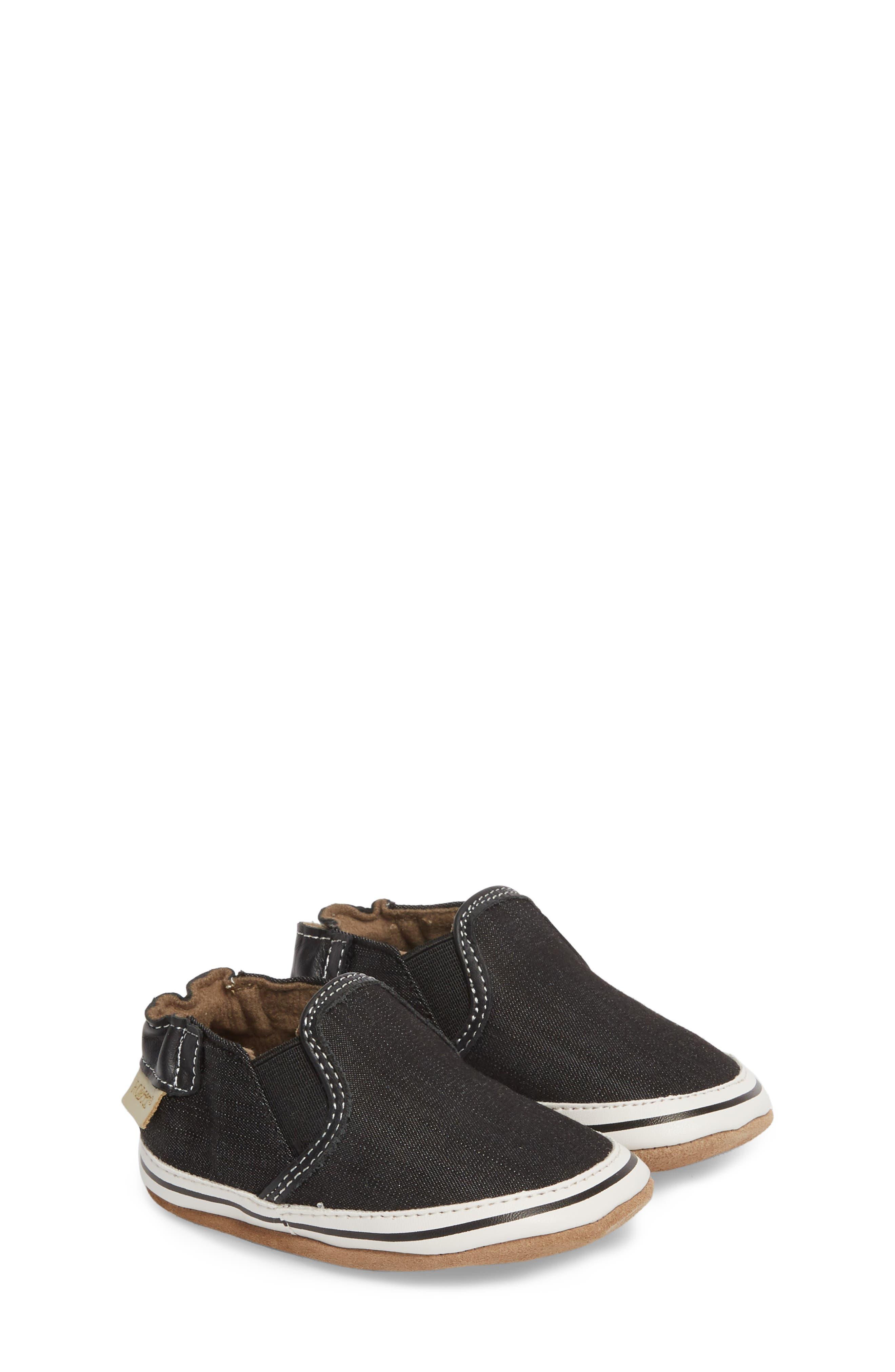 ROBEEZ<SUP>®</SUP> Liam Slip-On Crib Sneaker, Main, color, BLACK