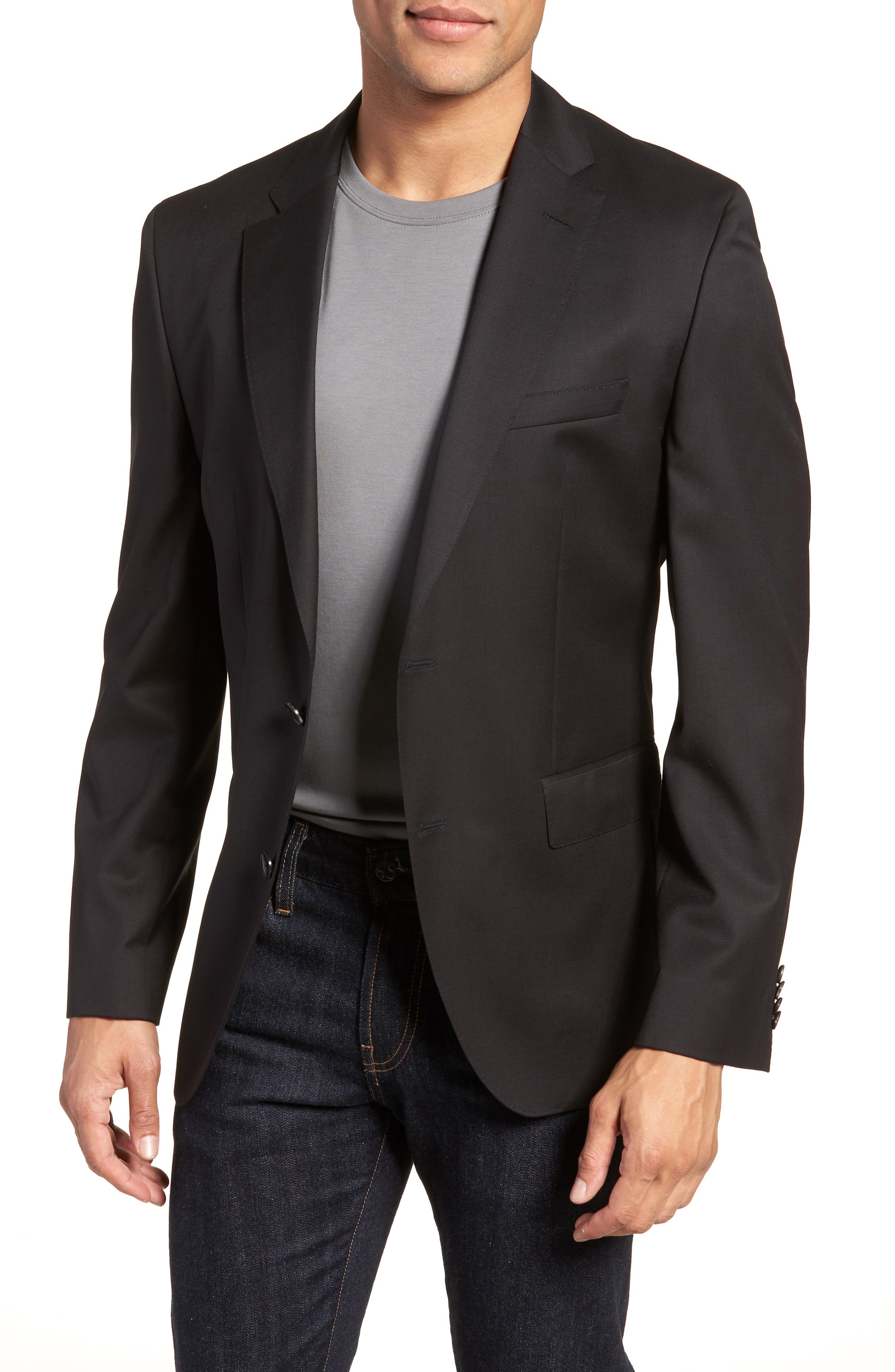 BOSS, Johnstons CYL Classic Fit Solid Wool Sport Coat, Main thumbnail 1, color, BLACK