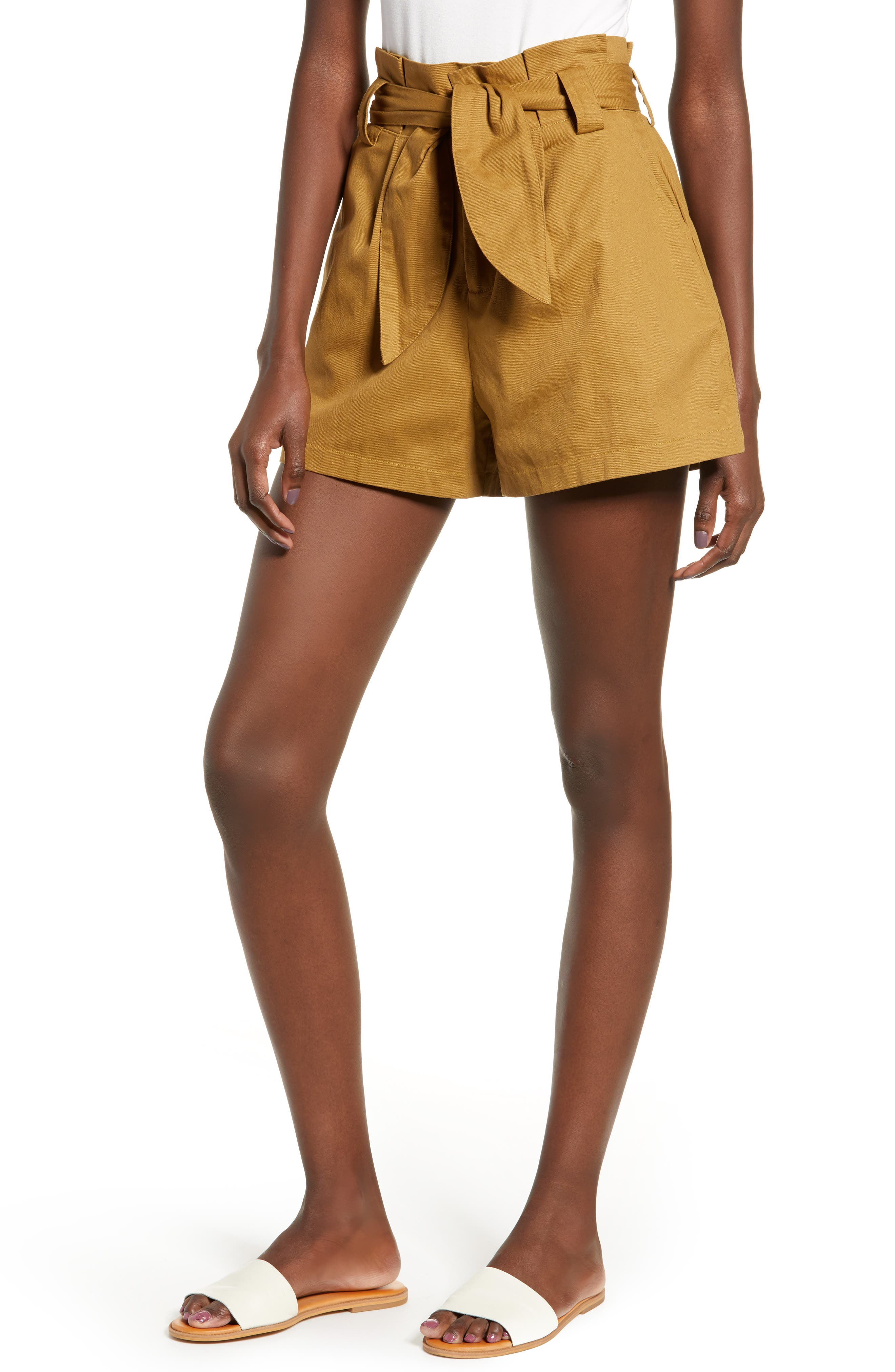 ALL IN FAVOR, Paperbag Waist Shorts, Main thumbnail 1, color, CAMEL