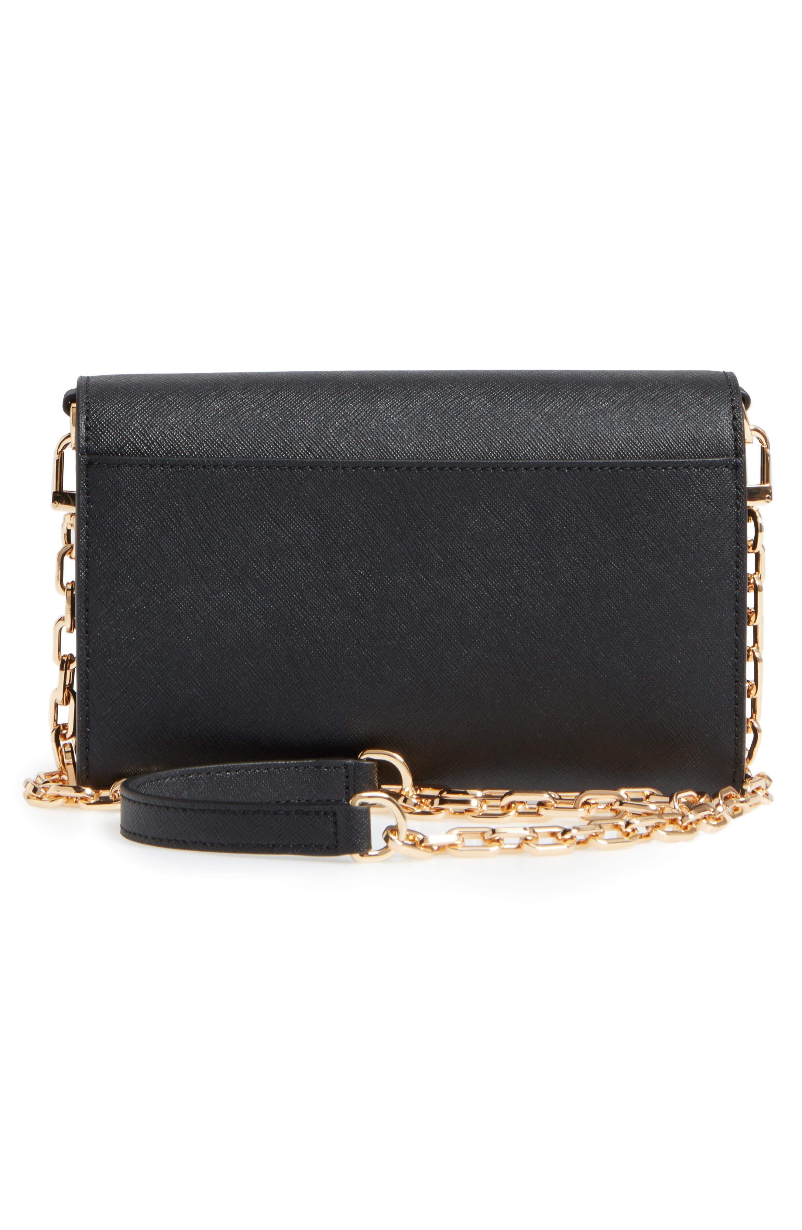TORY BURCH, 'Robinson' Leather Wallet on a Chain, Alternate thumbnail 3, color, 001