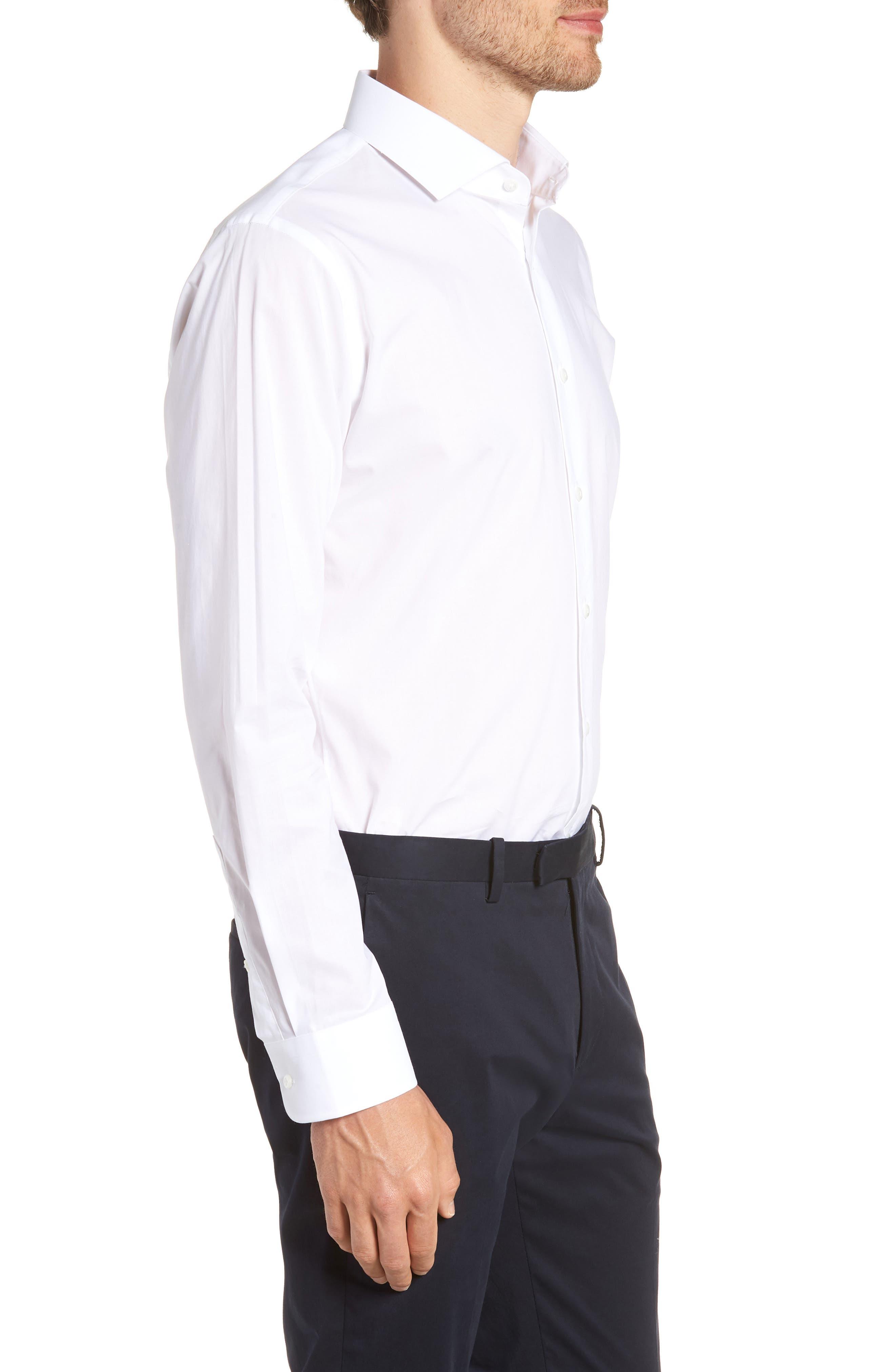 1901, Trim Fit Solid Dress Shirt, Alternate thumbnail 4, color, WHITE