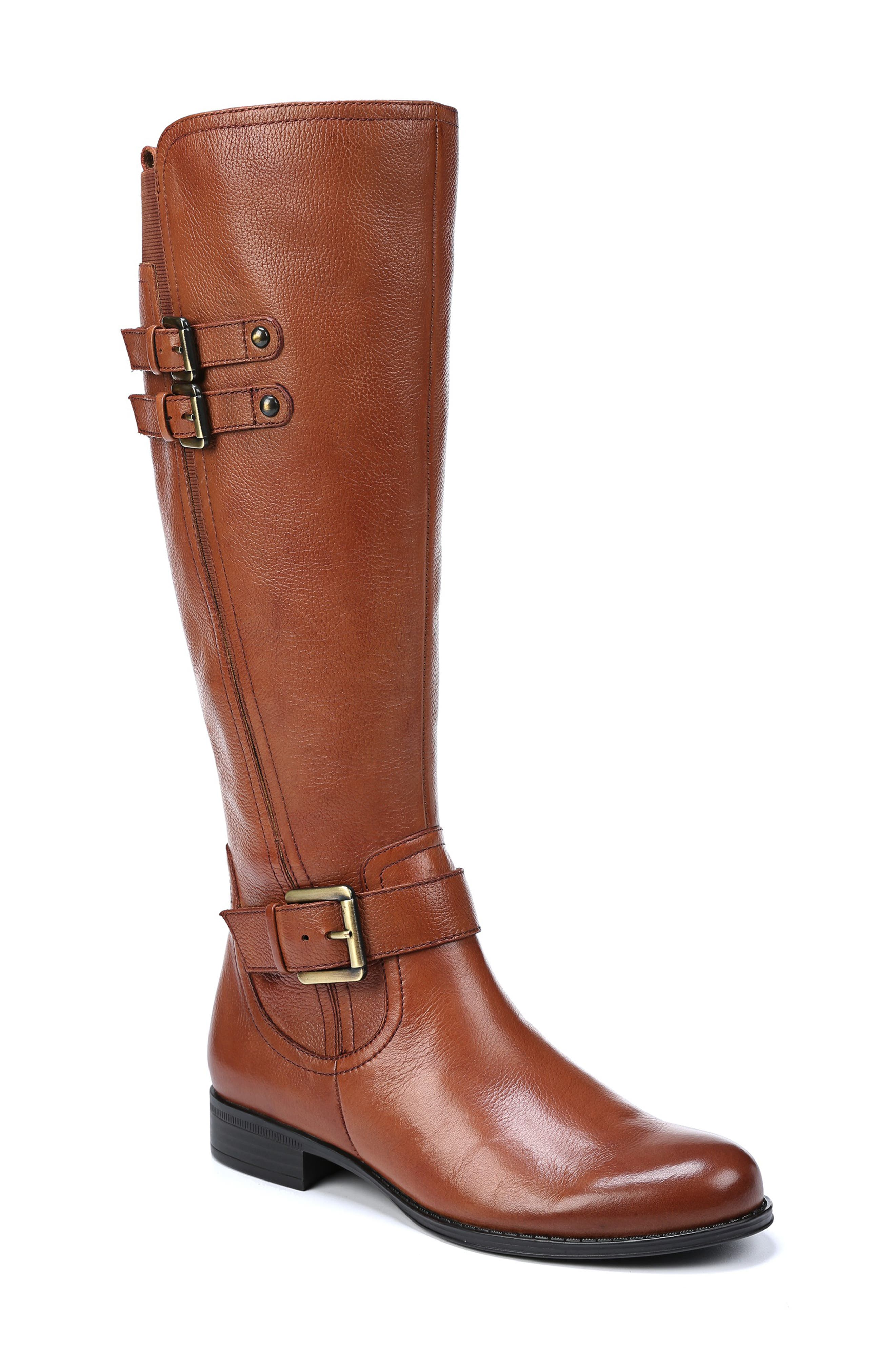 NATURALIZER Jessie Knee High Riding Boot, Main, color, BANANA BREAD LEATHER