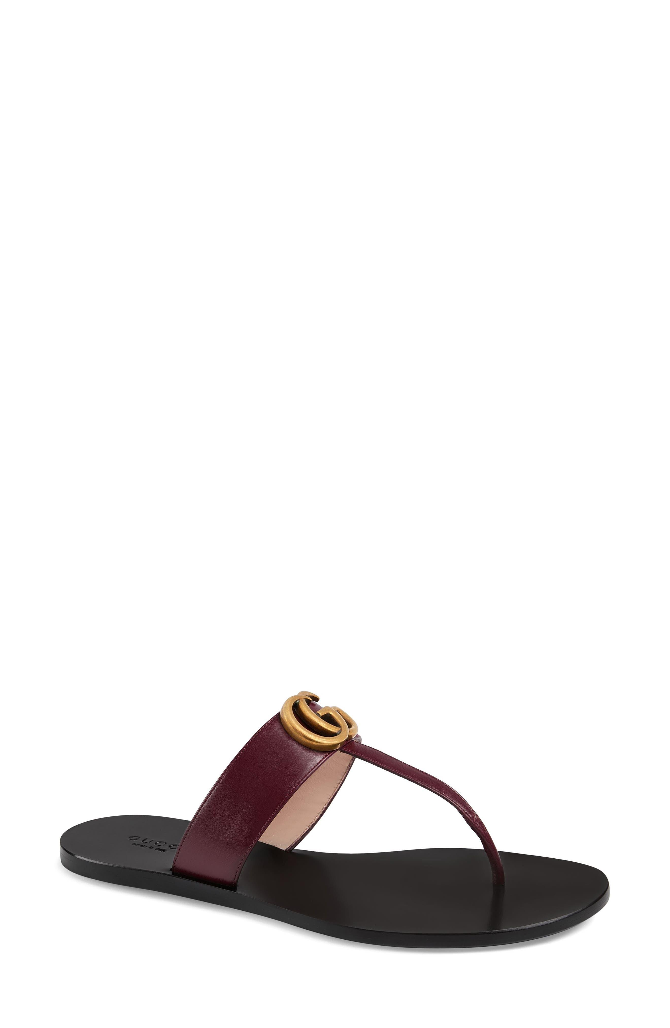 GUCCI, Marmont T-Strap Sandal, Main thumbnail 1, color, VINTAGE BORDEAUX