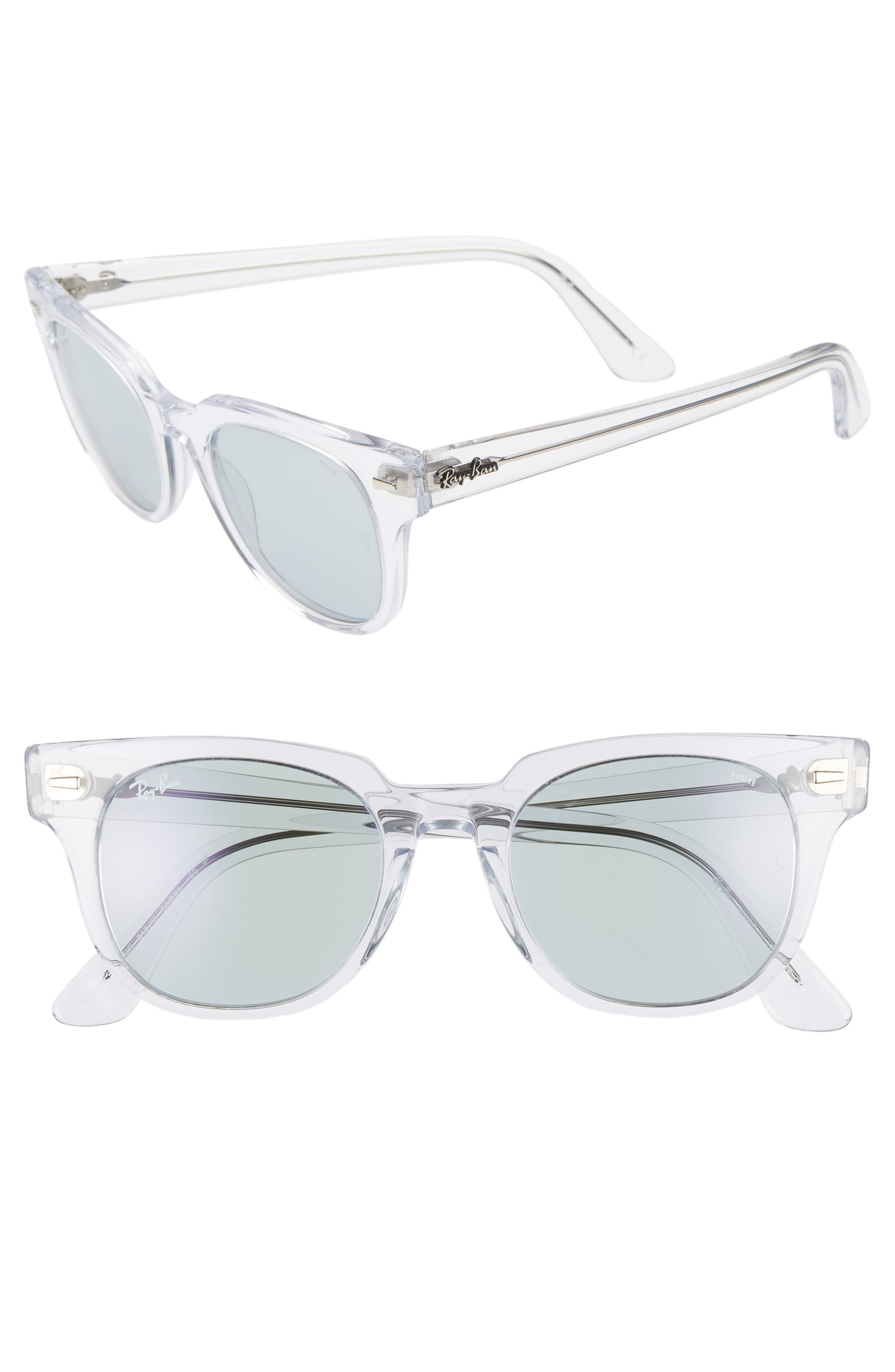 RAY-BAN, Meteor 50mm Wayfarer Photochromic Sunglasses, Main thumbnail 1, color, CRYSTAL/ BLUE SOLID