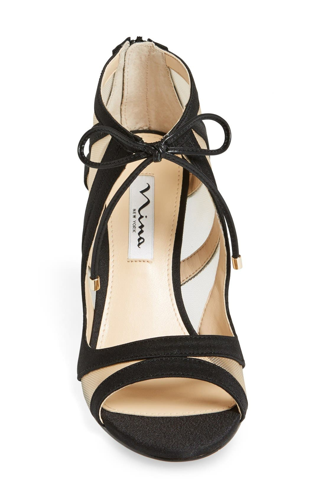 NINA, Cherie Illusion Sandal, Alternate thumbnail 2, color, BLACK SATIN/ NUDE MESH