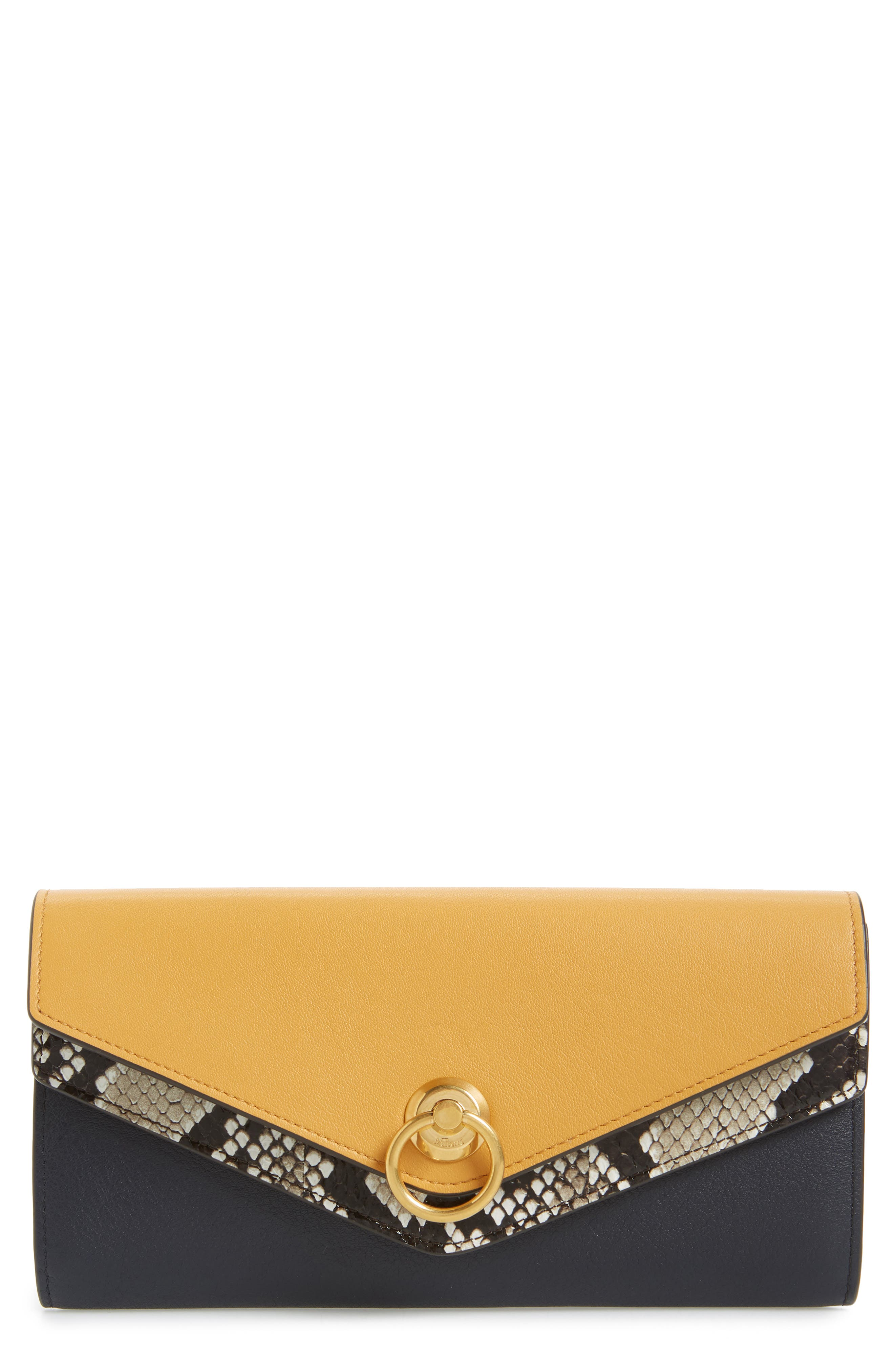 MULBERRY, Mulberrry Harlow Calfskin Leather & Genuine Snakeskin Wallet, Main thumbnail 1, color, MAIZE YELLOW/ MIDNIGHT