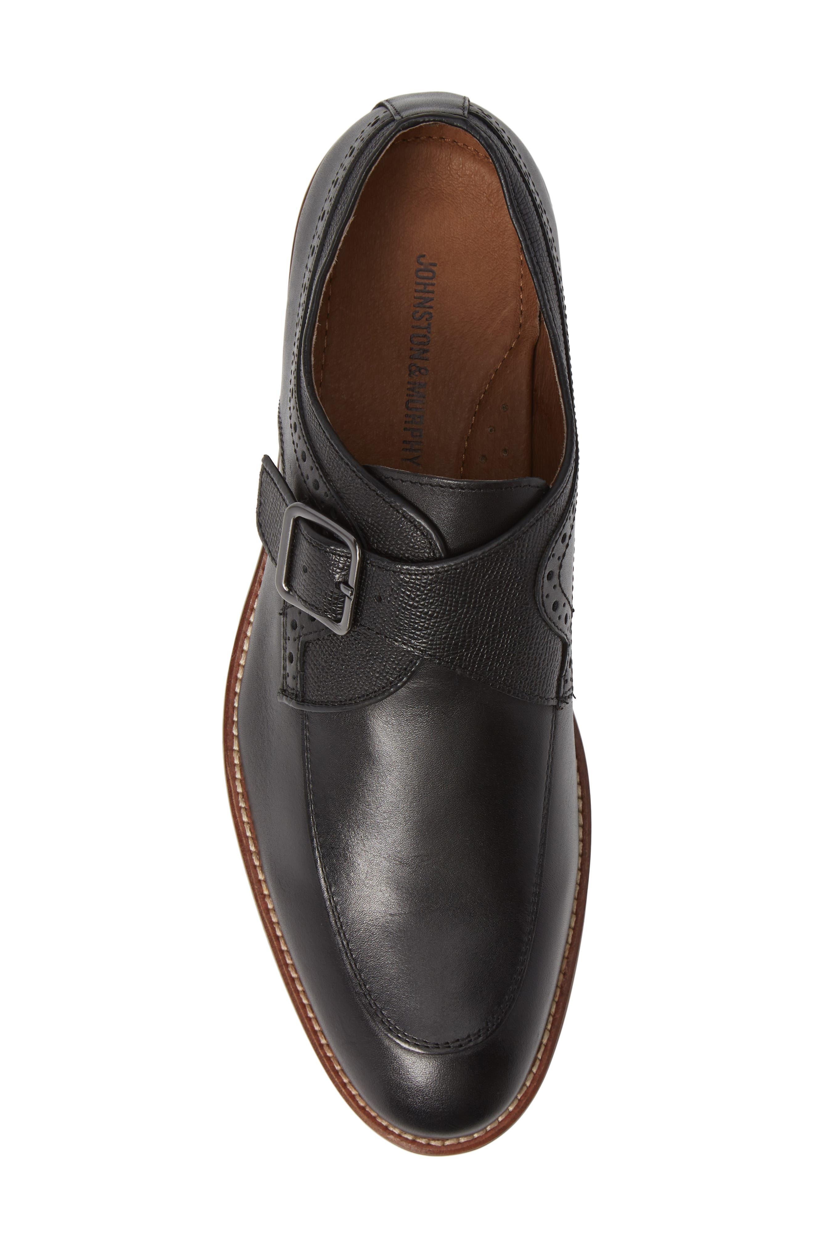 JOHNSTON & MURPHY, Conard Monk Strap Shoe, Alternate thumbnail 5, color, BLACK LEATHER